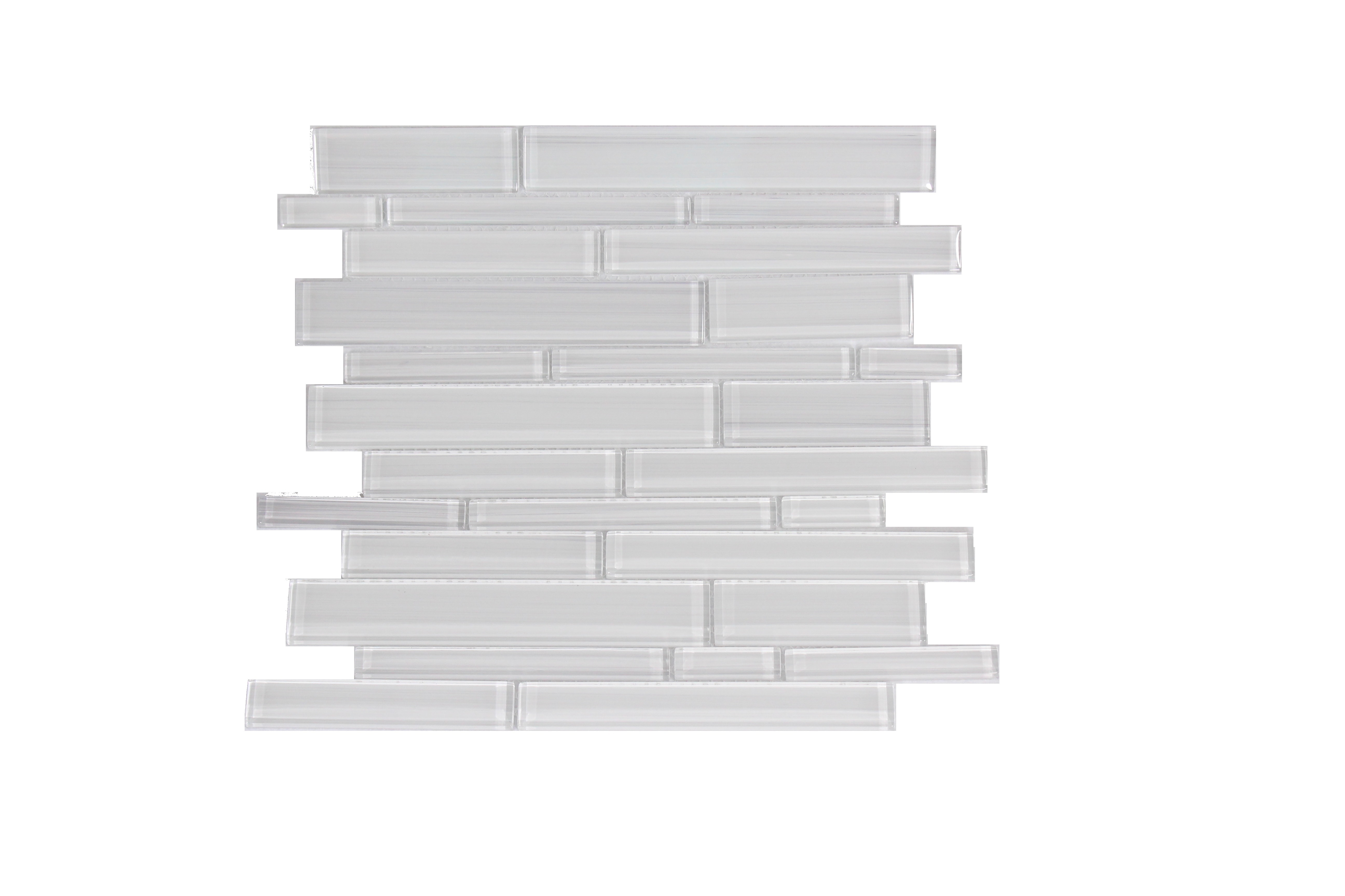 Glass Mosaic / 14 x 12 x 0.31 inches / Glossy Hand Painted Interlocking Random Sized Glass Mosaic Tile In White 0