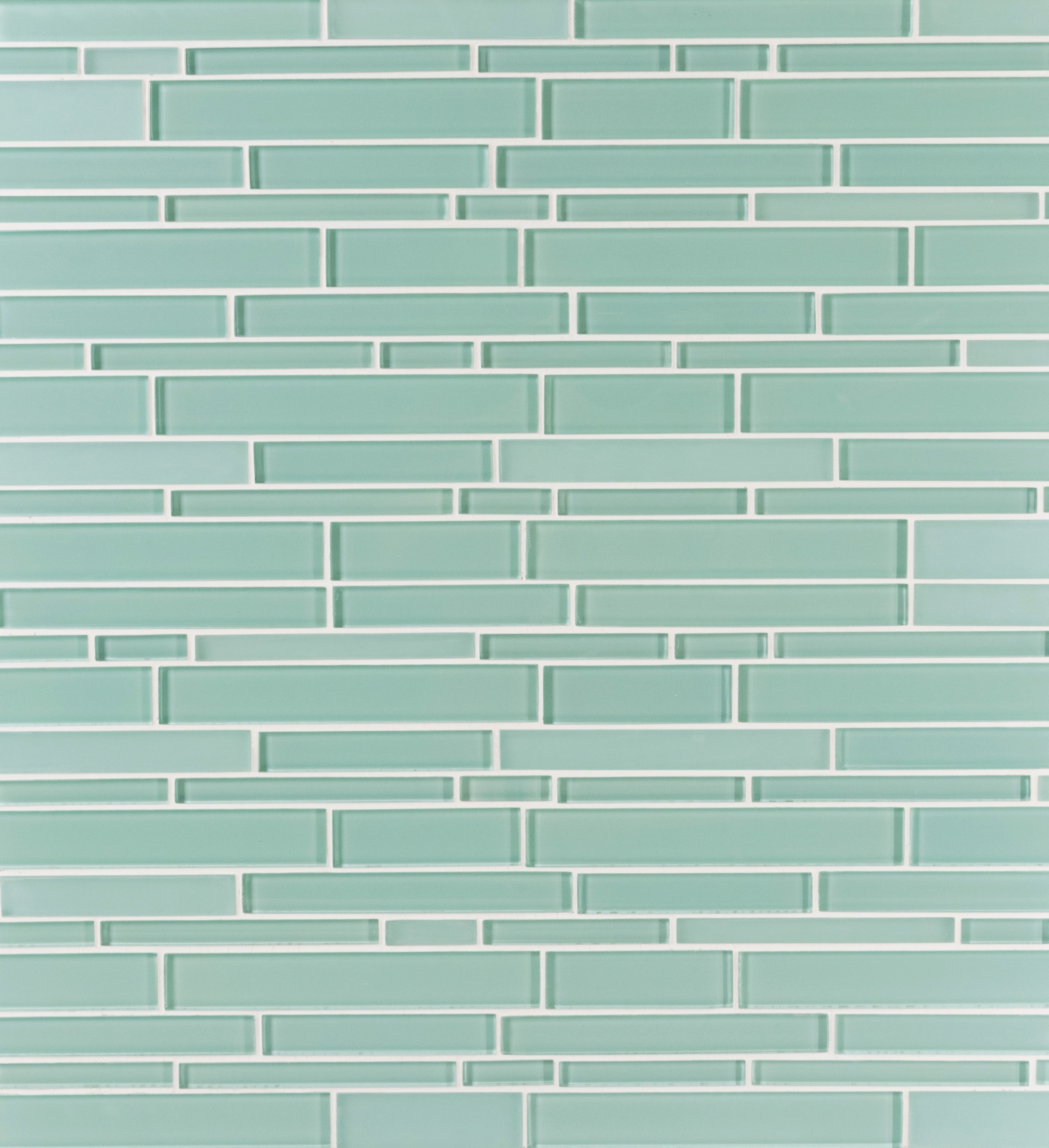 Glass Mosaic / 14 x 12 x 0.31 inches / Glossy Interlocking Random Sized Glass Mosaic Tile In Light Teal 0