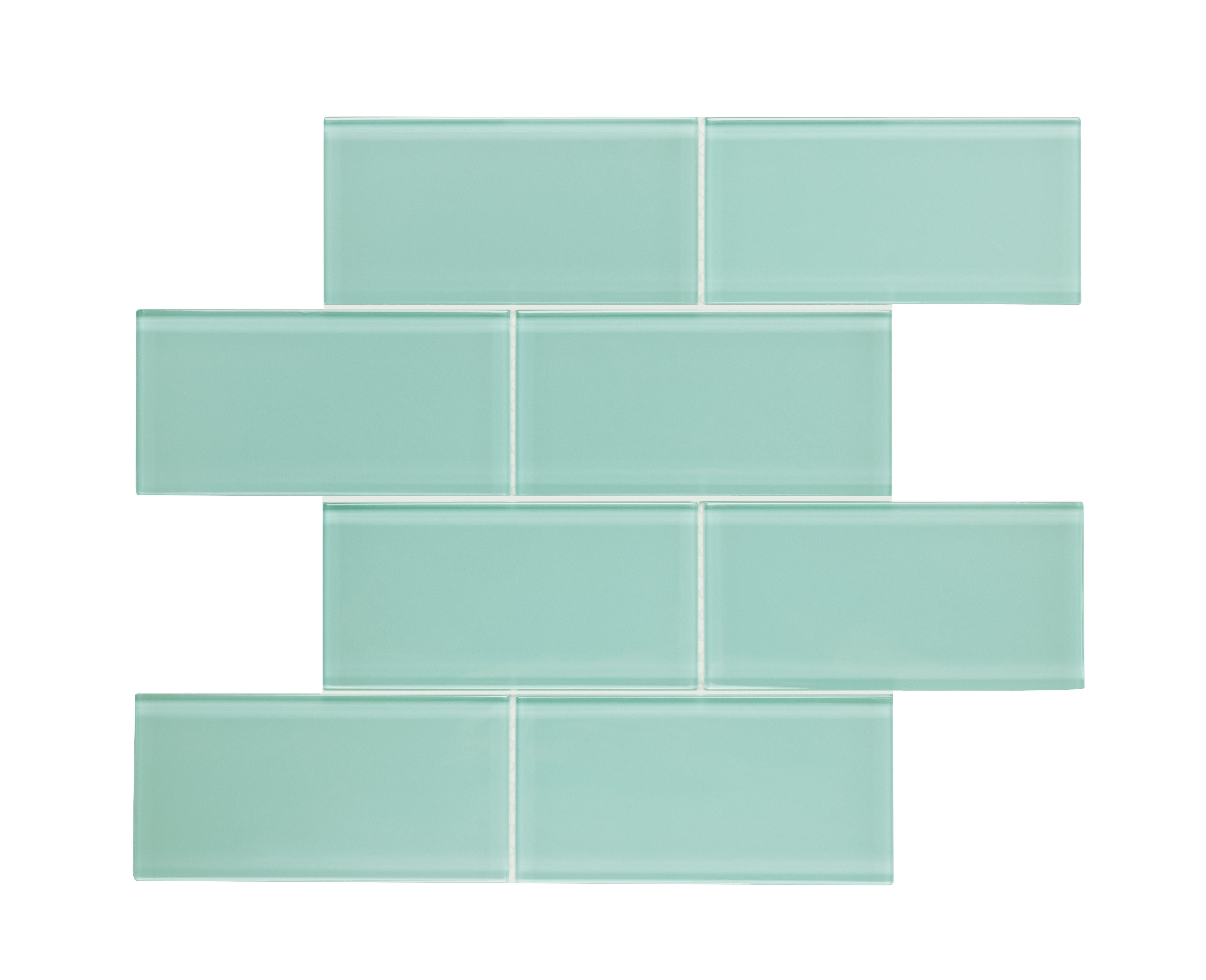 """Glass Mosaic / 16 x 12 x 0.16 inches / Glossy Large 3"""" X 6"""" X 4mm Glass Subway Mosaic Tile In Light Teal 0"""
