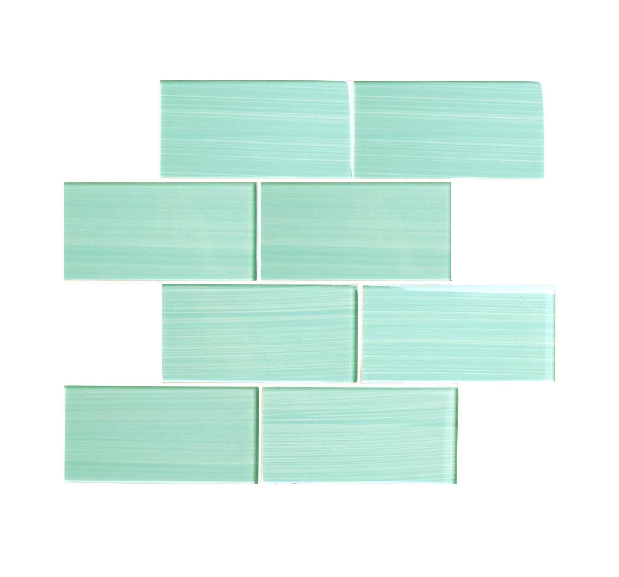 """Glass Mosaic / 16 x 12 x 0.31 inches / Glossy Hand Painted 3"""" x 6"""" Glass Subway Tile in Light Teal 0"""