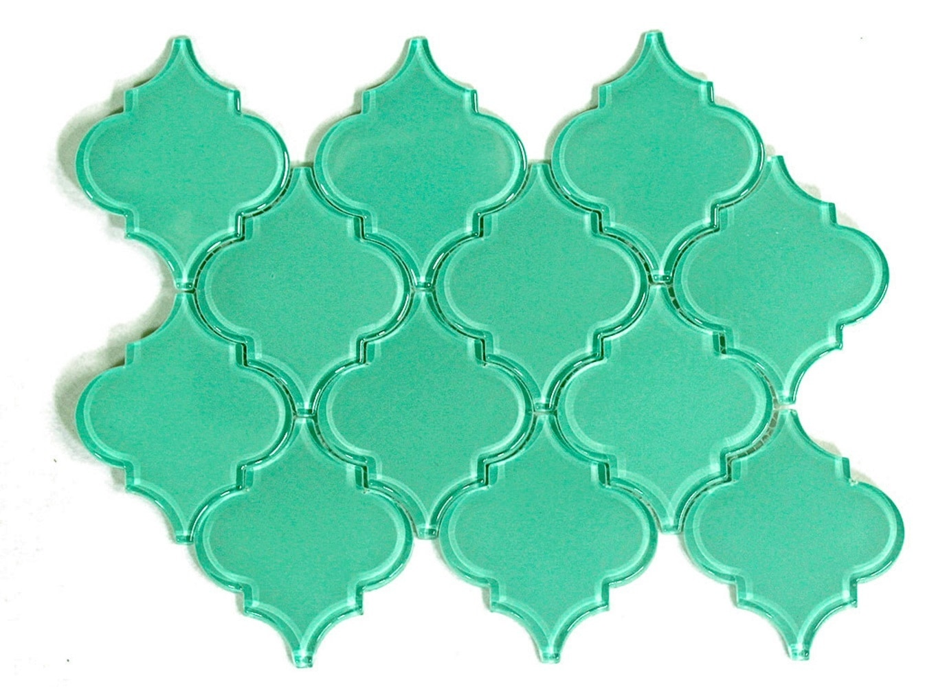 Glass Mosaic / 12 x 12 x 0.31 inches / Glossy Lantern Glass Mosaic Tile In Light Teal 0