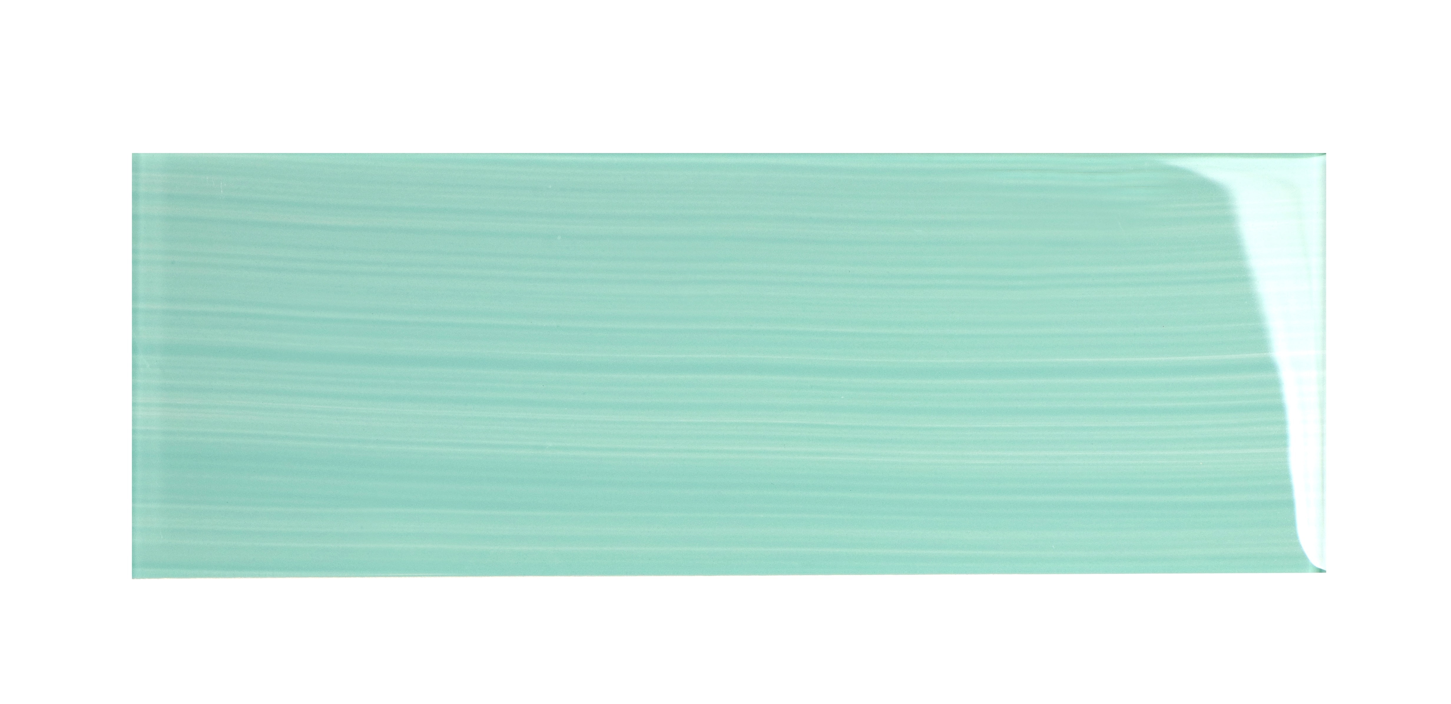 """Glass Subway Tile / 4 x 12 x 0.31 inches / Glossy Hand Painted Individual 4"""" x 12"""" Glass Subway Tile in Light Teal 0"""