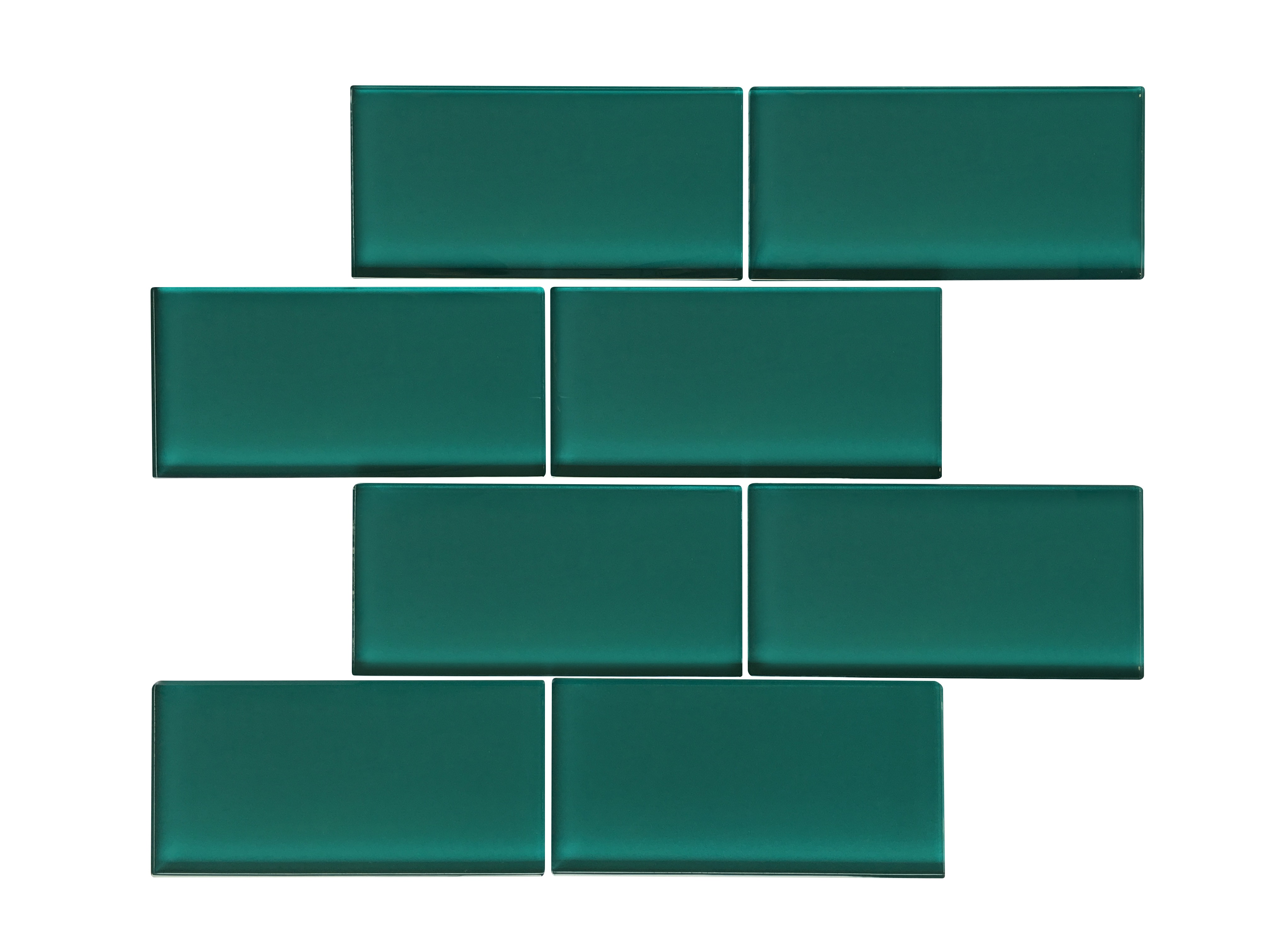 """Glass Mosaic / 16 x 12 x 0.16 inches / Glossy Large 3"""" X 6"""" X 4mm Glass Subway Mosaic Tile In Dark Teal 0"""