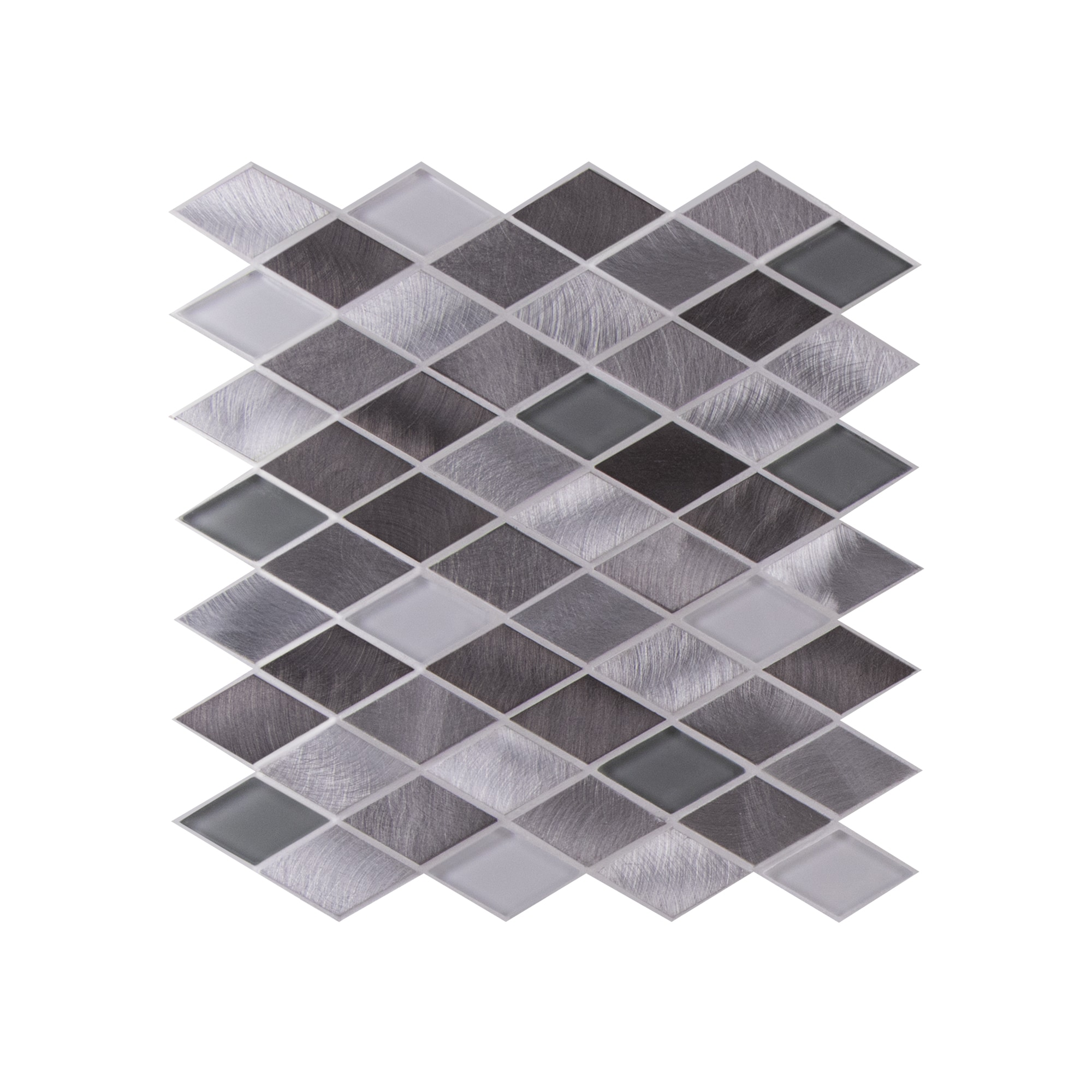 Glass Mosaic / 12 x 12 x 0.31 inches / Glossy Diamond Glass & Aluminum Mosaic Tile In Gray and White 0