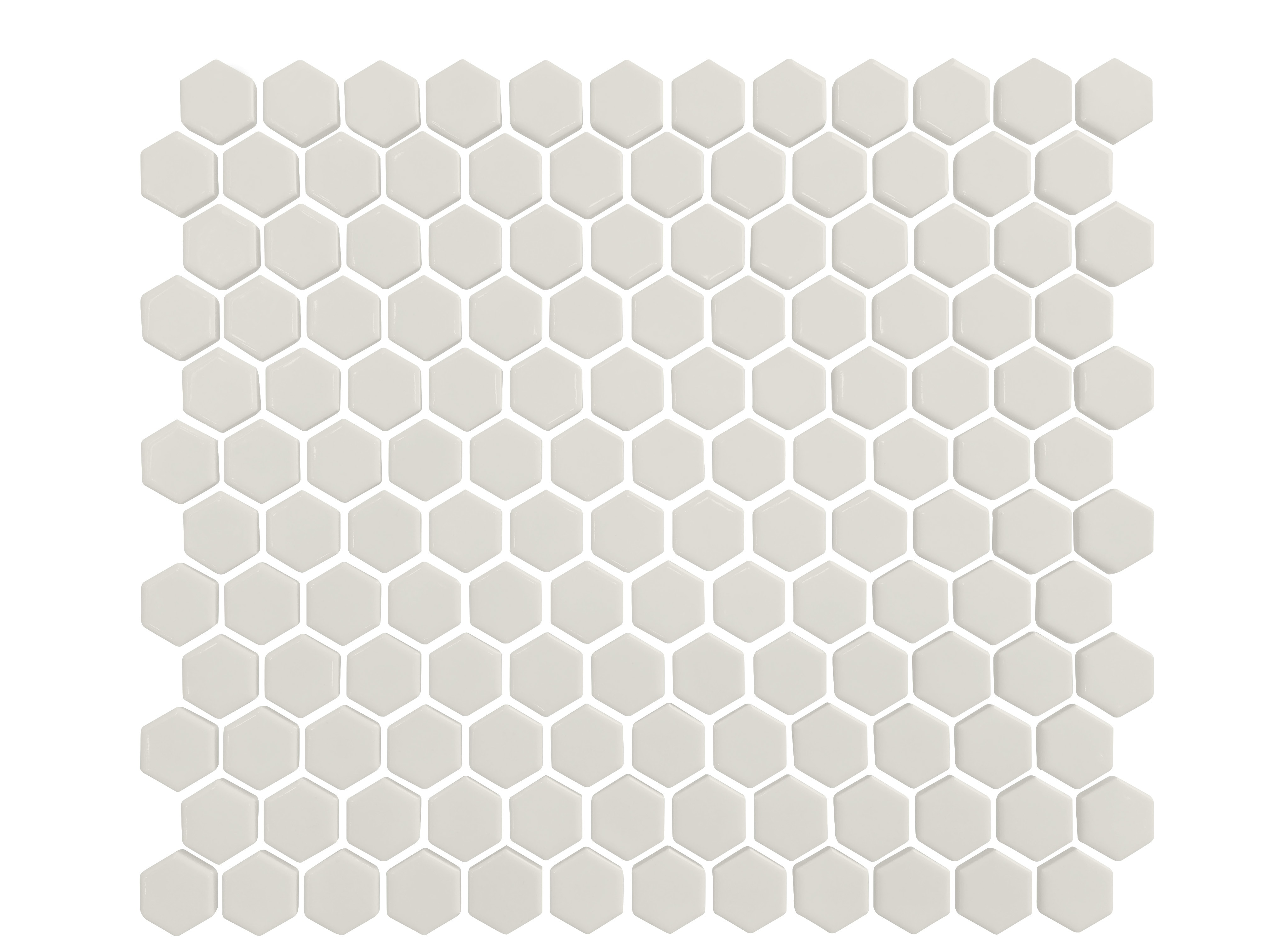 """11.75 x 10.25 x 0.2 inches / Glossy Retro 1"""" Hexagon Porcelain Glossy Wall Tile in White 0"""
