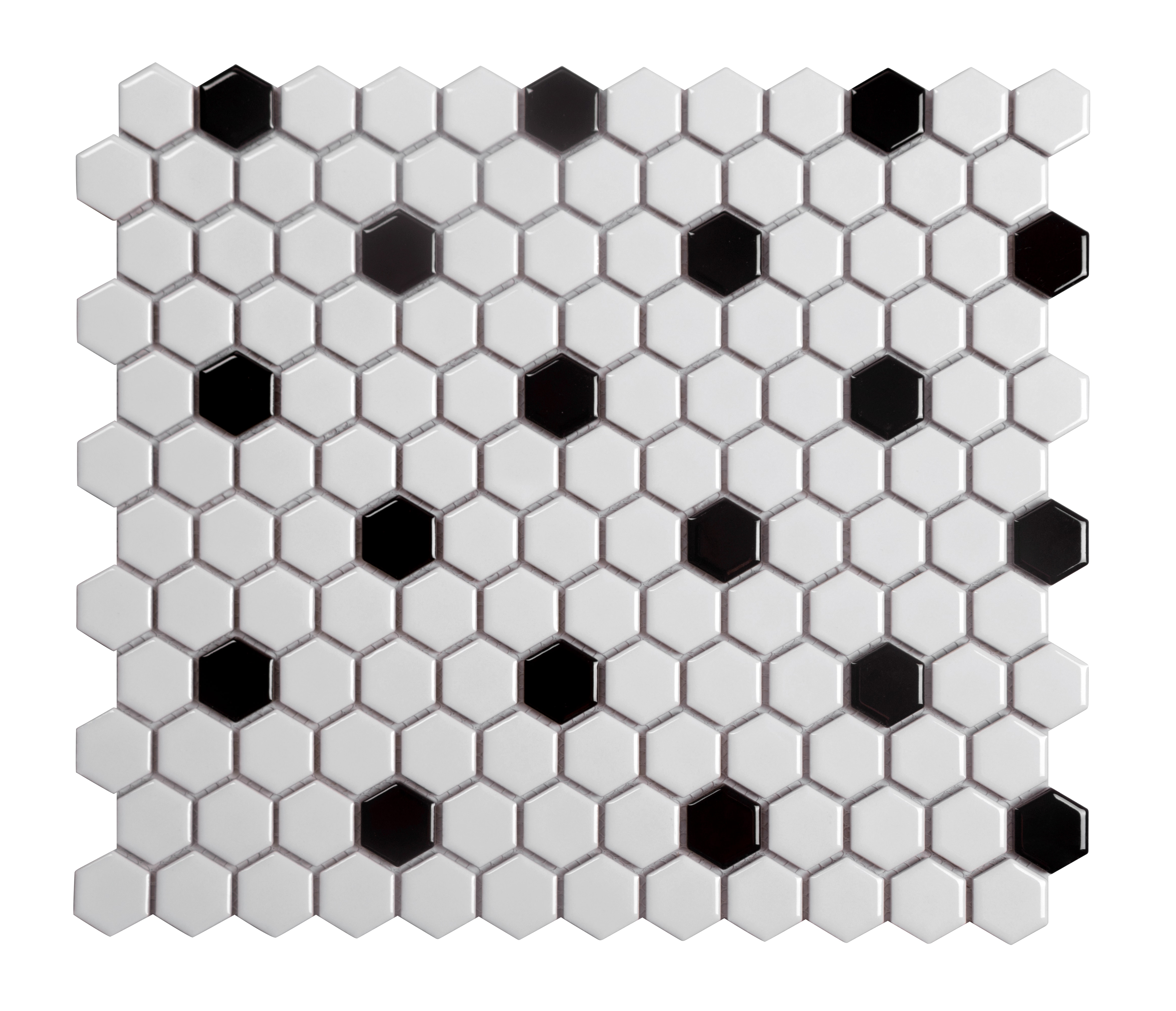 """11.75 x 10.25 x 0.2 inches / Glossy Retro 1"""" Hexagon Porcelain Glossy Wall Tile in White with Black Dot 0"""