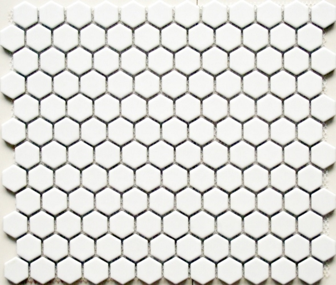 """11.75 x 10.25 x 0.2 inches / Matte Retro 1"""" Hexagon Porcelain Matte Floor and Wall Tile in White 0"""