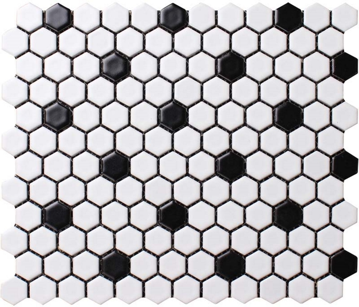 """11.75 x 10.25 x 0.2 inches / Matte Retro 1"""" Hex Porcelain Matte Floor & Wall Tile in White with Black Dot 0"""