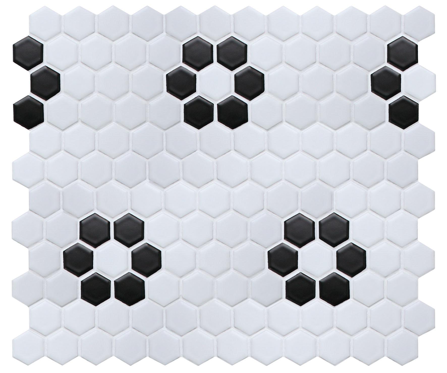 "11.75 x 10.25 x 0.2 inches / Matte Retro 1"" Hex Porcelain Matte Floor & Wall Tile in White/Black Flower 0"