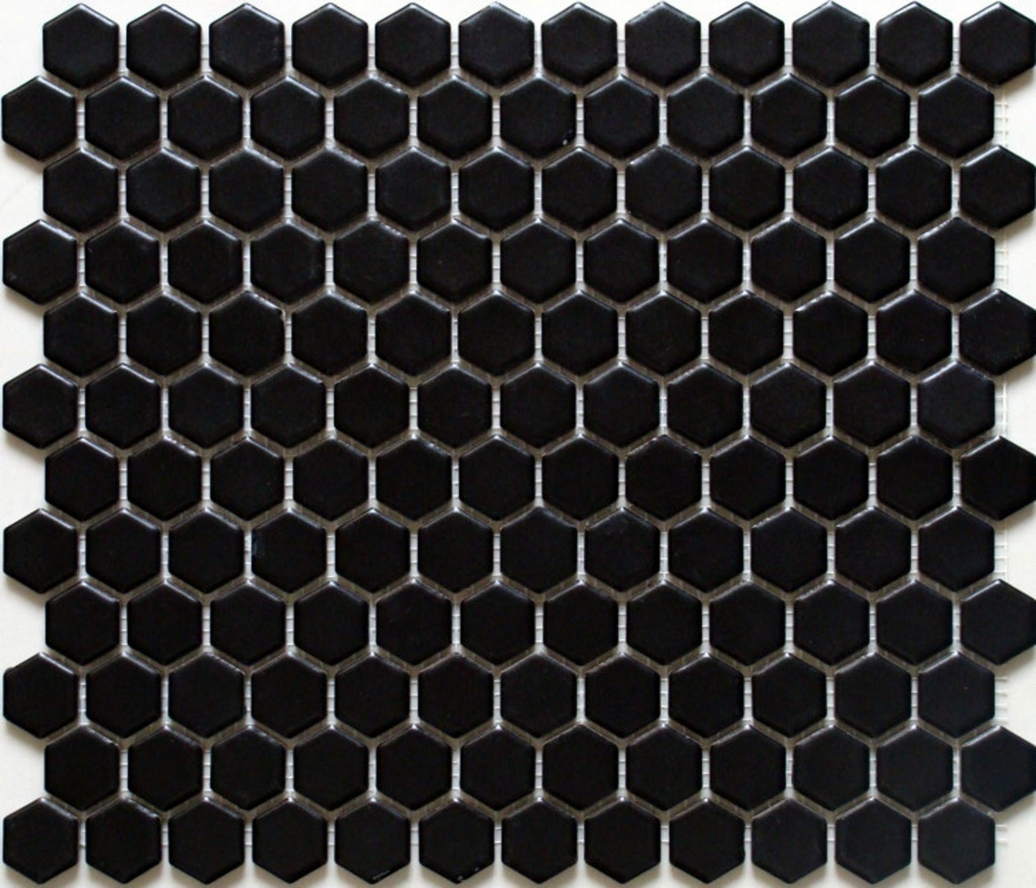 """11.75 x 10.25 x 0.2 inches / Matte Retro 1"""" Hexagon Porcelain Matte Floor and Wall Tile in Black 0"""