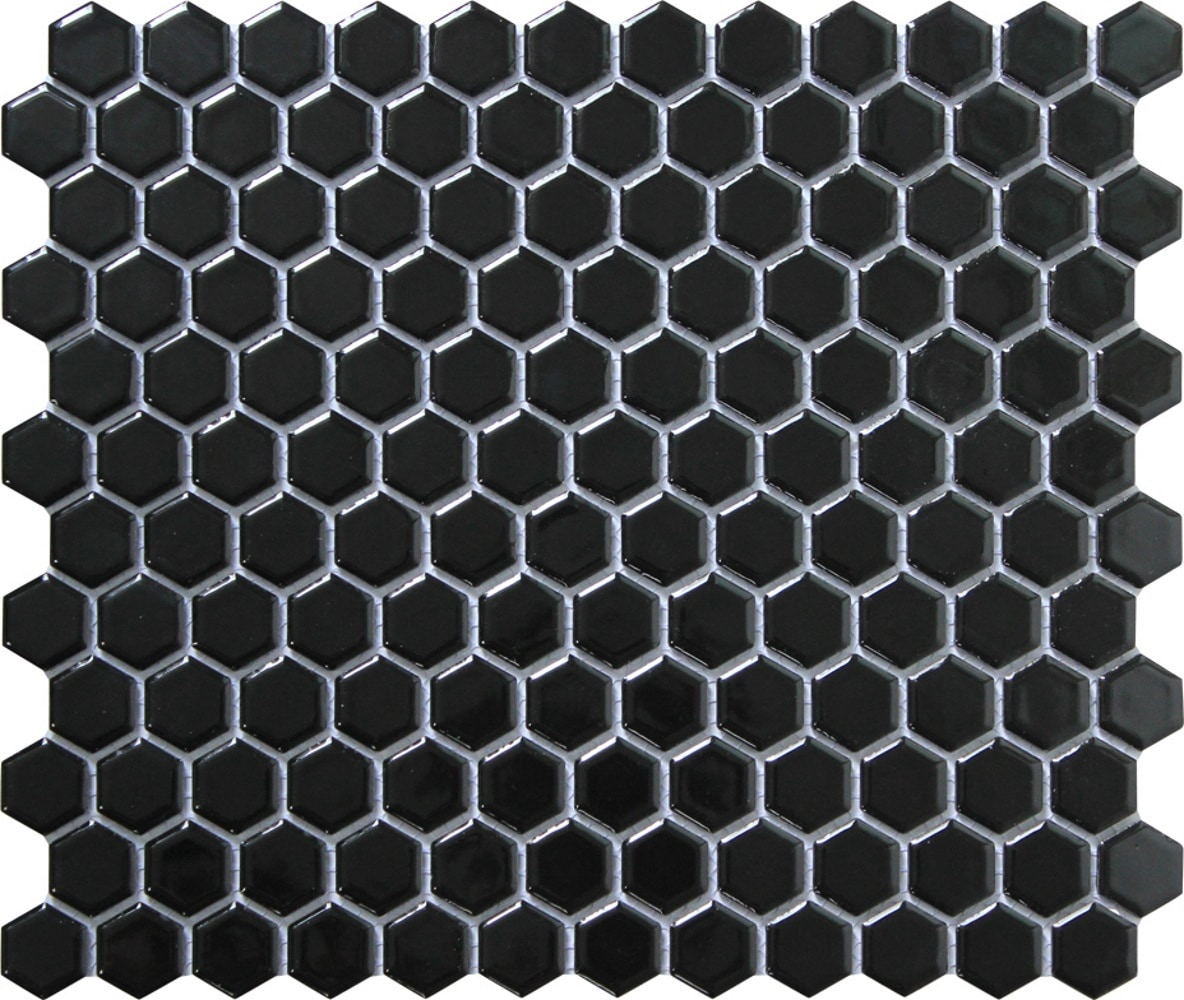 """11.75 x 10.25 x 0.2 inches / Glossy Retro 1"""" Hexagon Porcelain Glossy Wall Tile in Black 0"""
