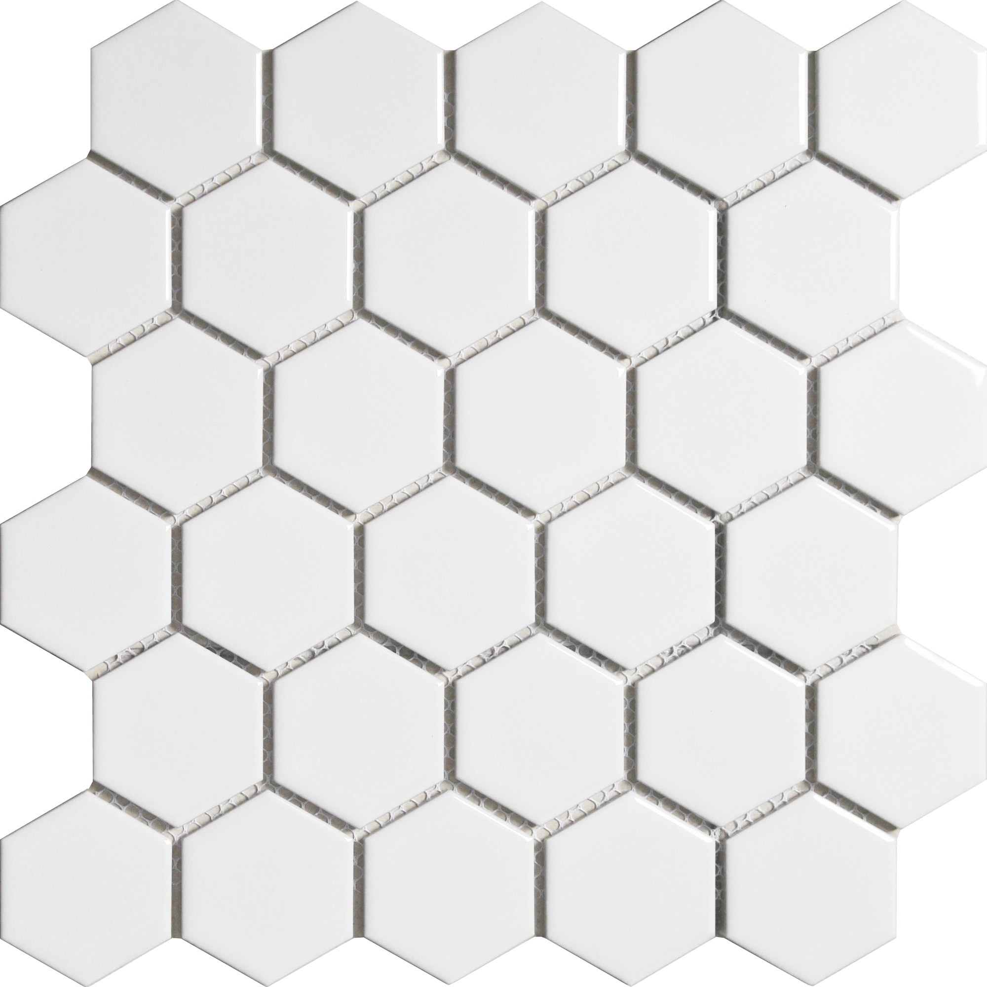 """11 x 10.5 x 0.24 inches / Glossy Retro 2"""" Hexagon Porcelain Glossy Wall Tile in White 0"""