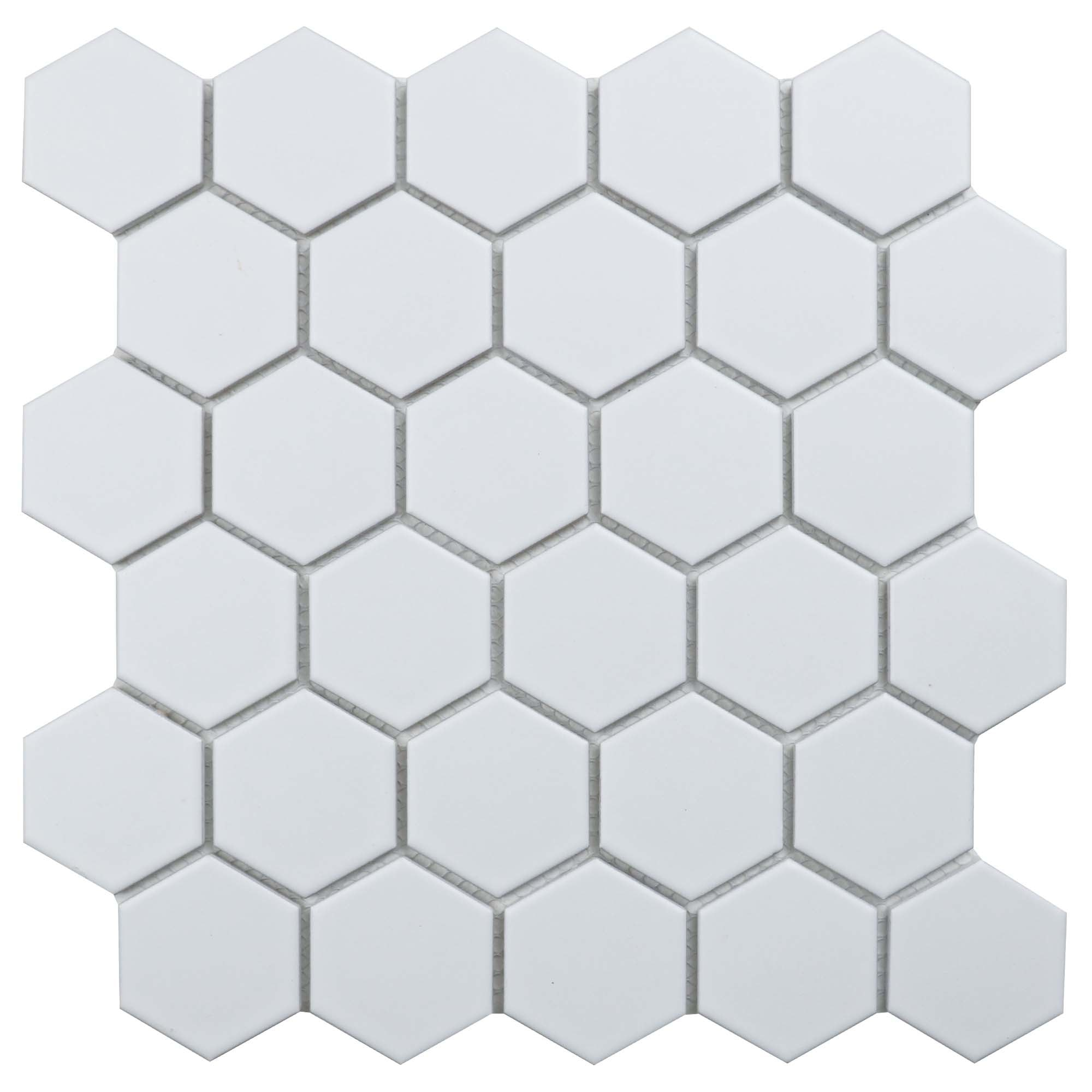 """11 x 10.5 x 0.24 inches / Matte Retro 2"""" Hexagon Porcelain Matte Floor and Wall Tile in White 0"""