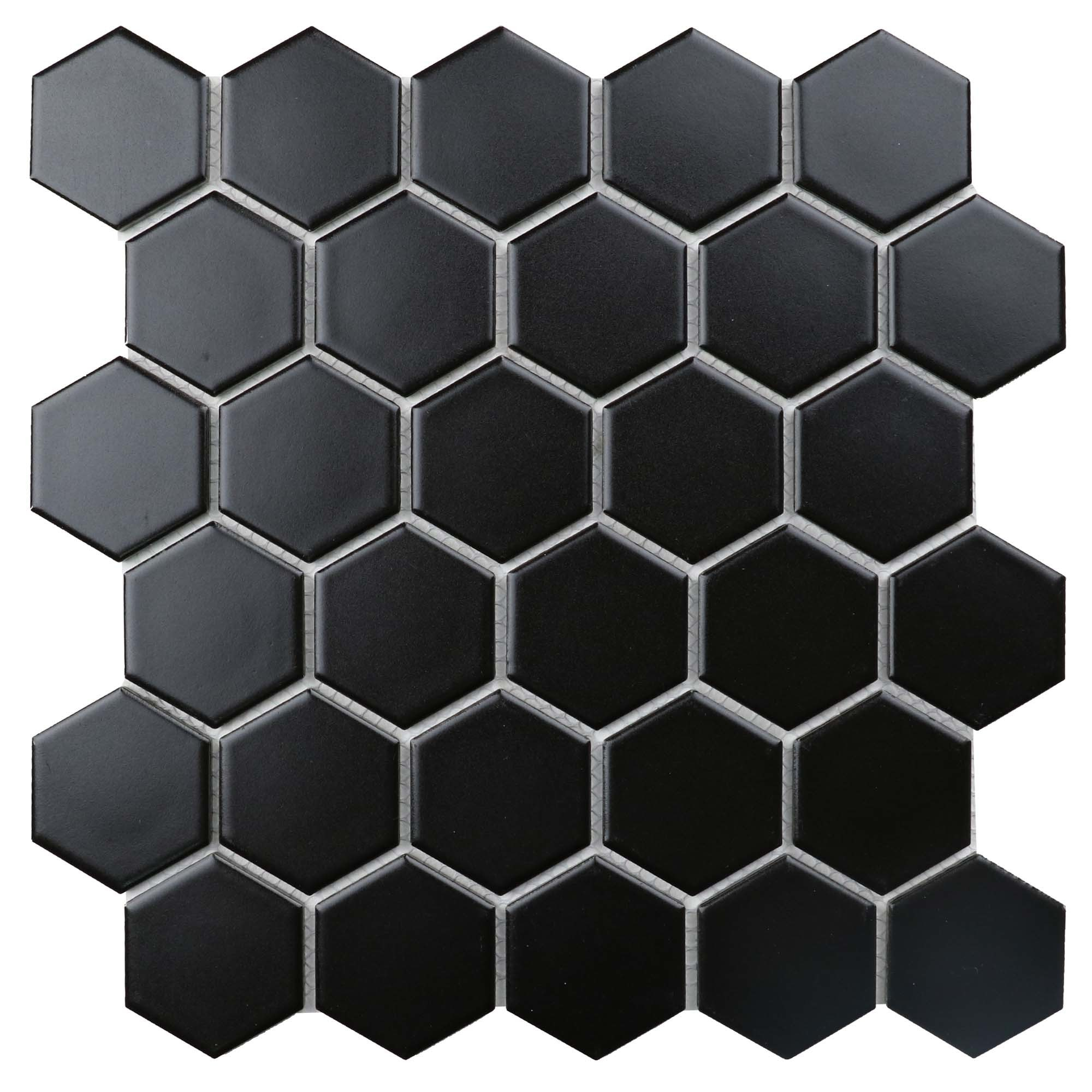 """11 x 10.5 x 0.24 inches / Matte Retro 2"""" Hexagon Porcelain Matte Floor and Wall Tile in Black 0"""