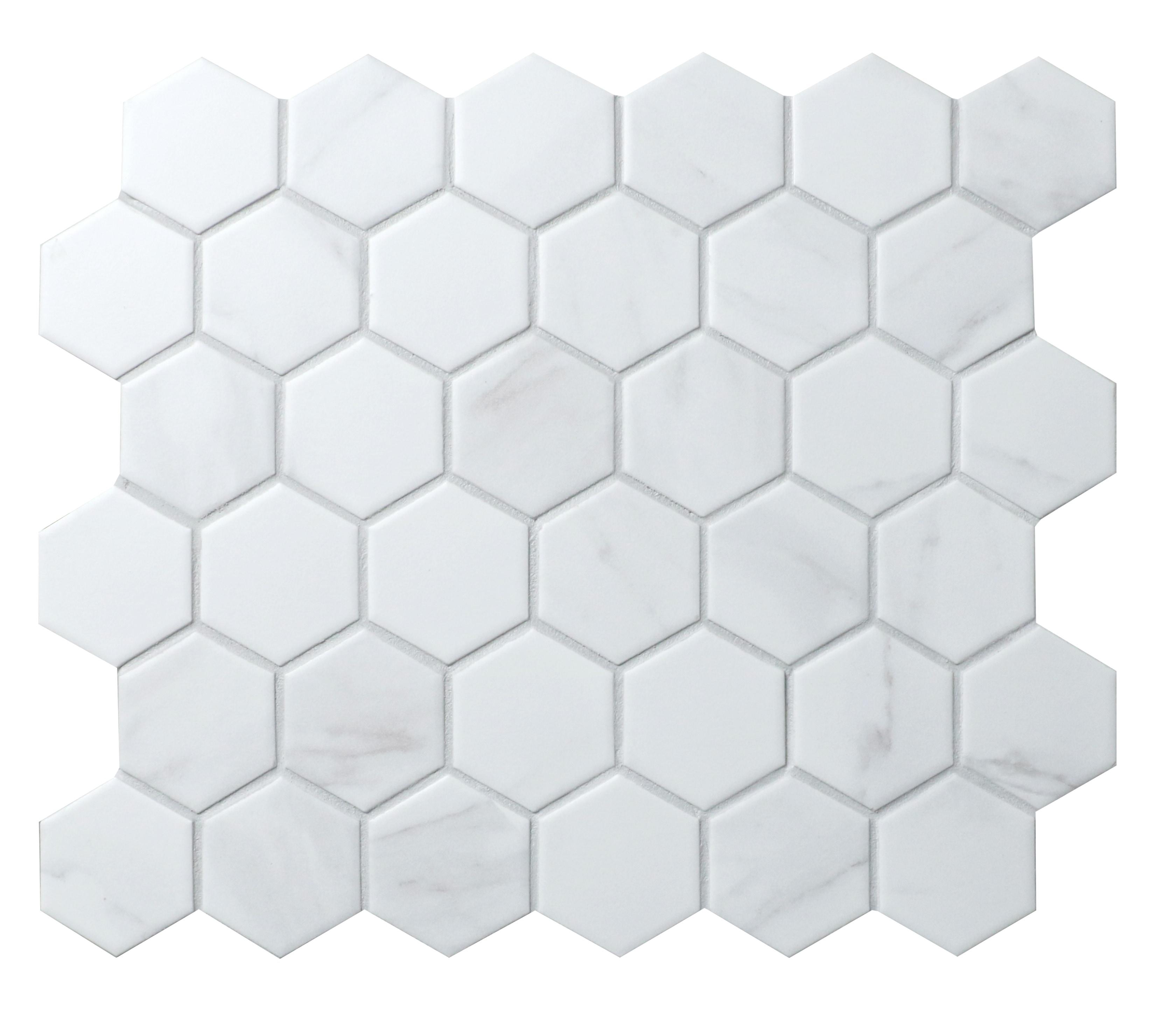 "11 x 10.5 x 0.24 inches / Matte Retro 2"" Hexagon Porcelain Matte Floor and Wall Tile in Carrara 0"