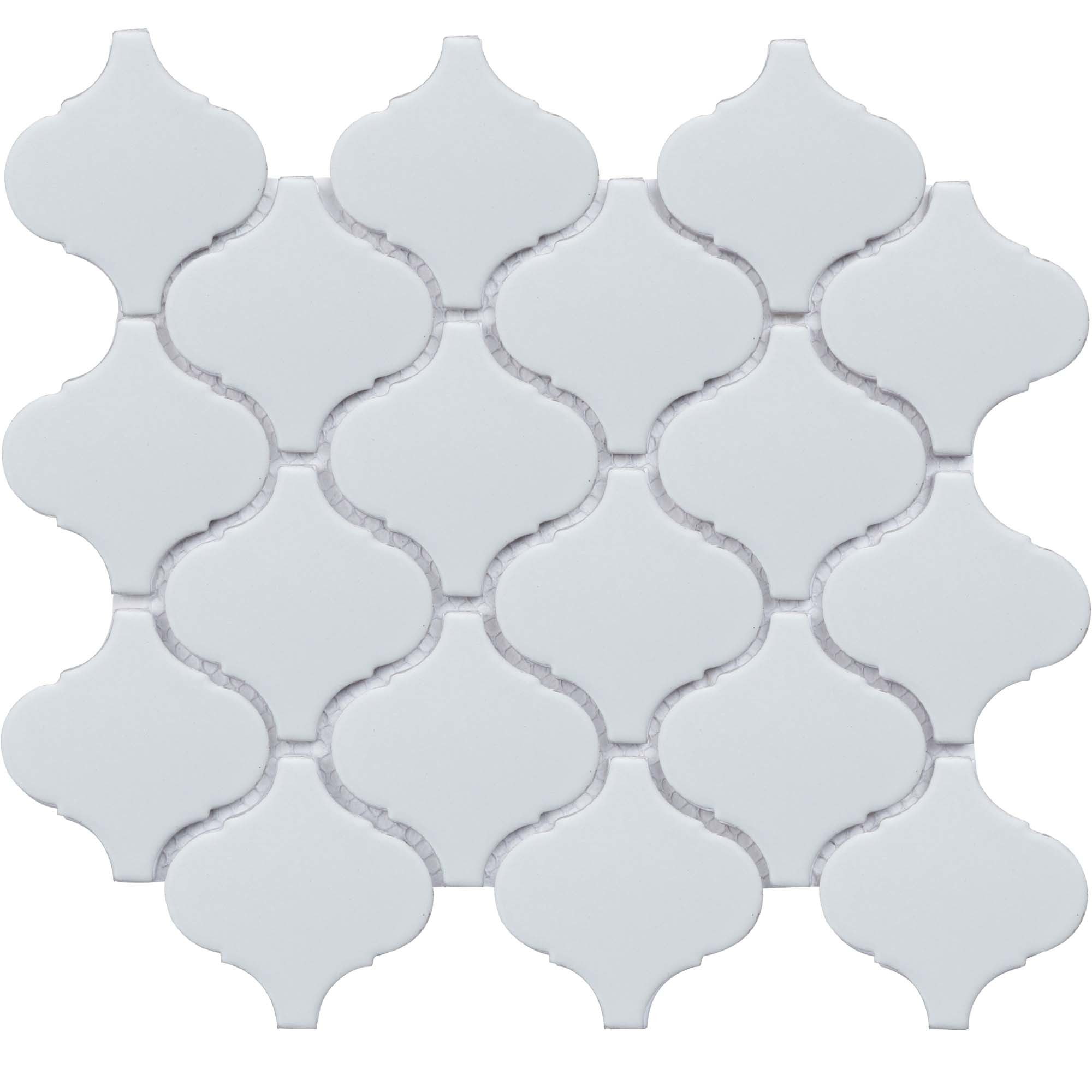 """11 x 9.65 x 0.26 inches / Matte Retro 3"""" Arabesque Porcelain Glossy Wall Tile in White 0"""