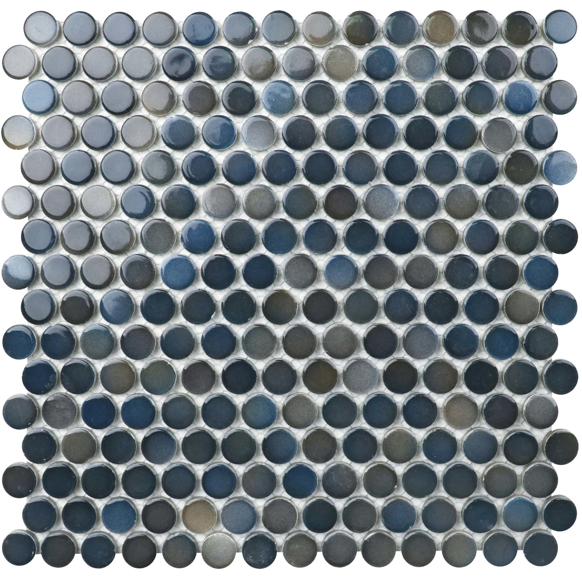 """11.6 x 11.4 x 0.24 inches / Glossy Retro 0.8"""" Penny Round Porcelain Glossy Wall Tile in Blue/Gray 0"""