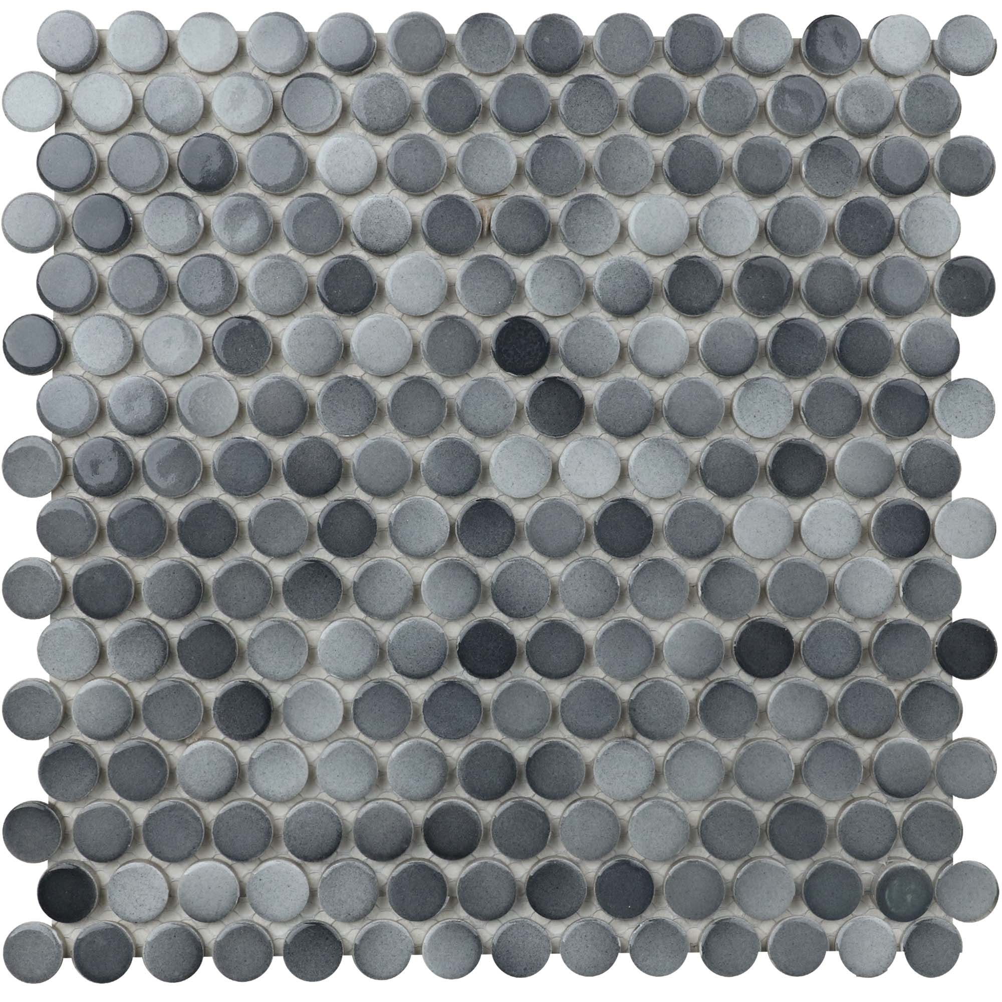 """11.6 x 11.4 x 0.24 inches / Glossy Retro 0.8"""" Penny Round Porcelain Glossy Wall Tile in Gray 0"""