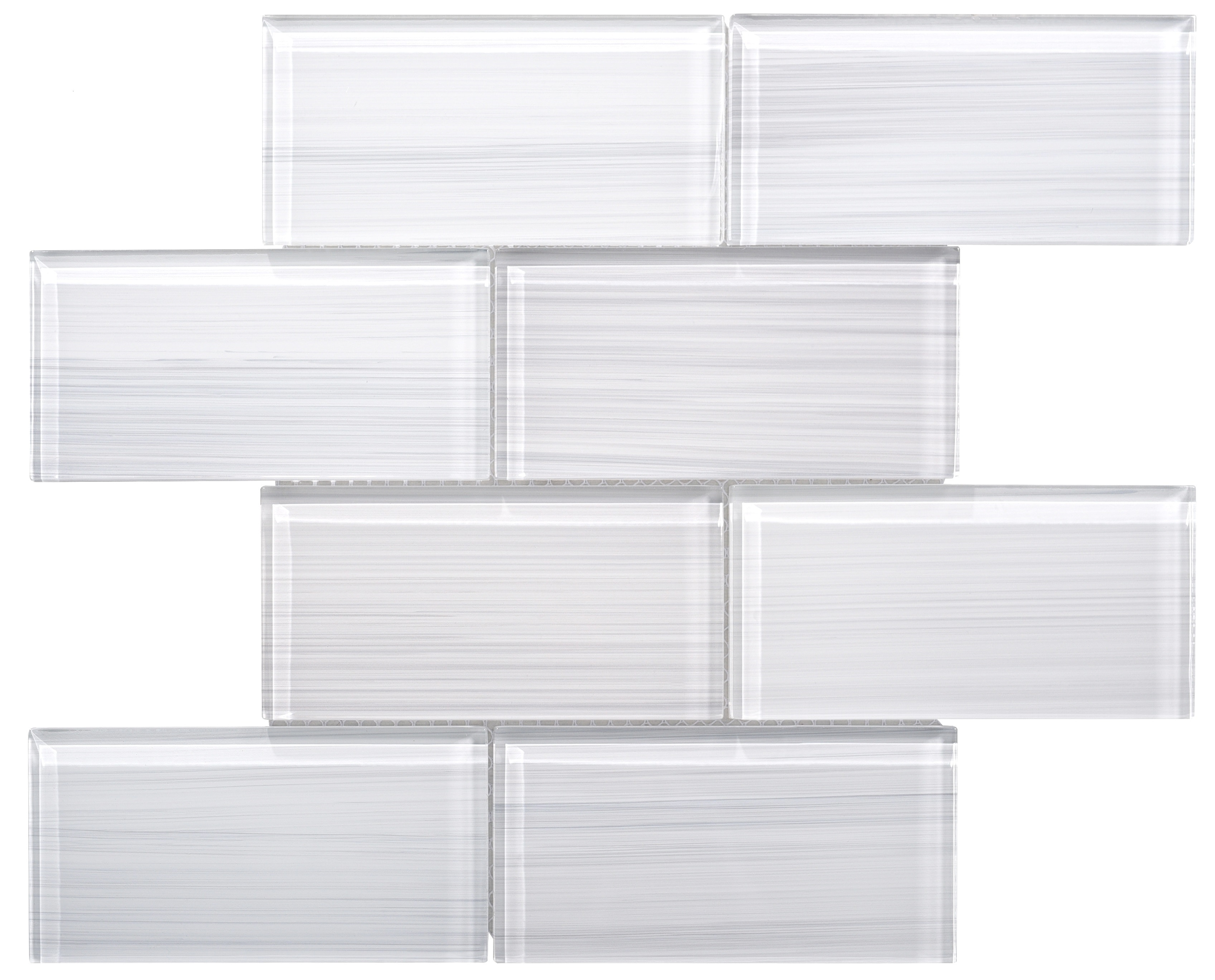 Glass Mosaic / 16 x 12 x 0.31 inches / Glossy Hand Painted Large Glass Subway Tile In White 0