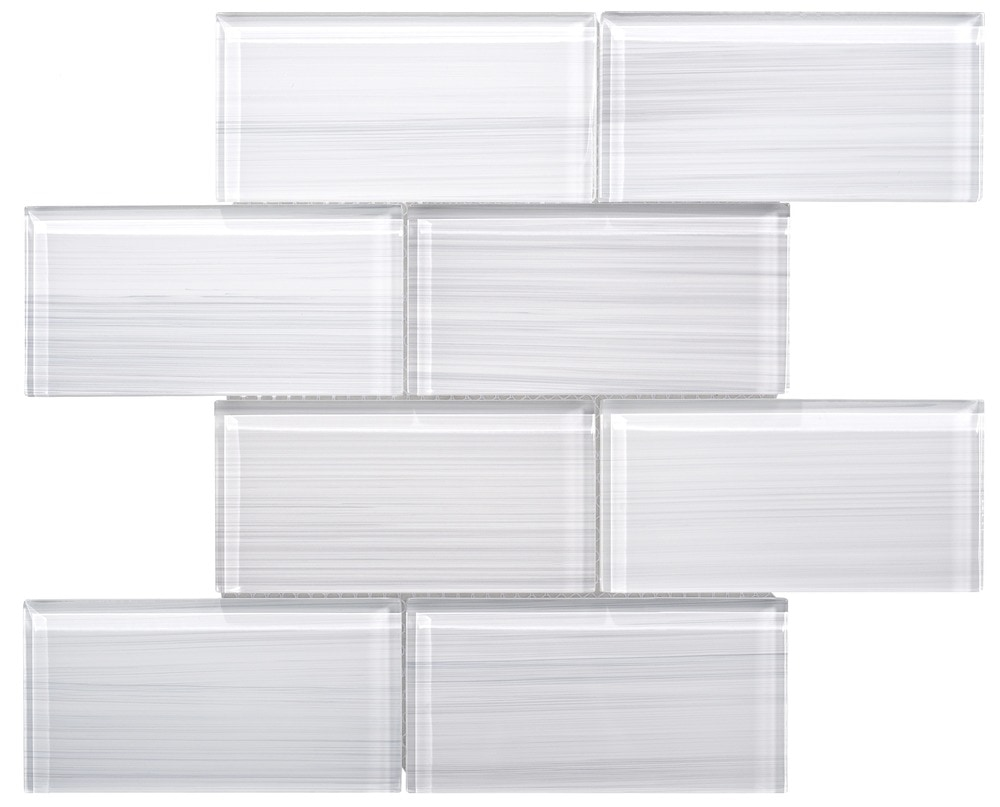 Ws Tiles Hand Painted Large Glass Subway Tile In White Glass Mosaic