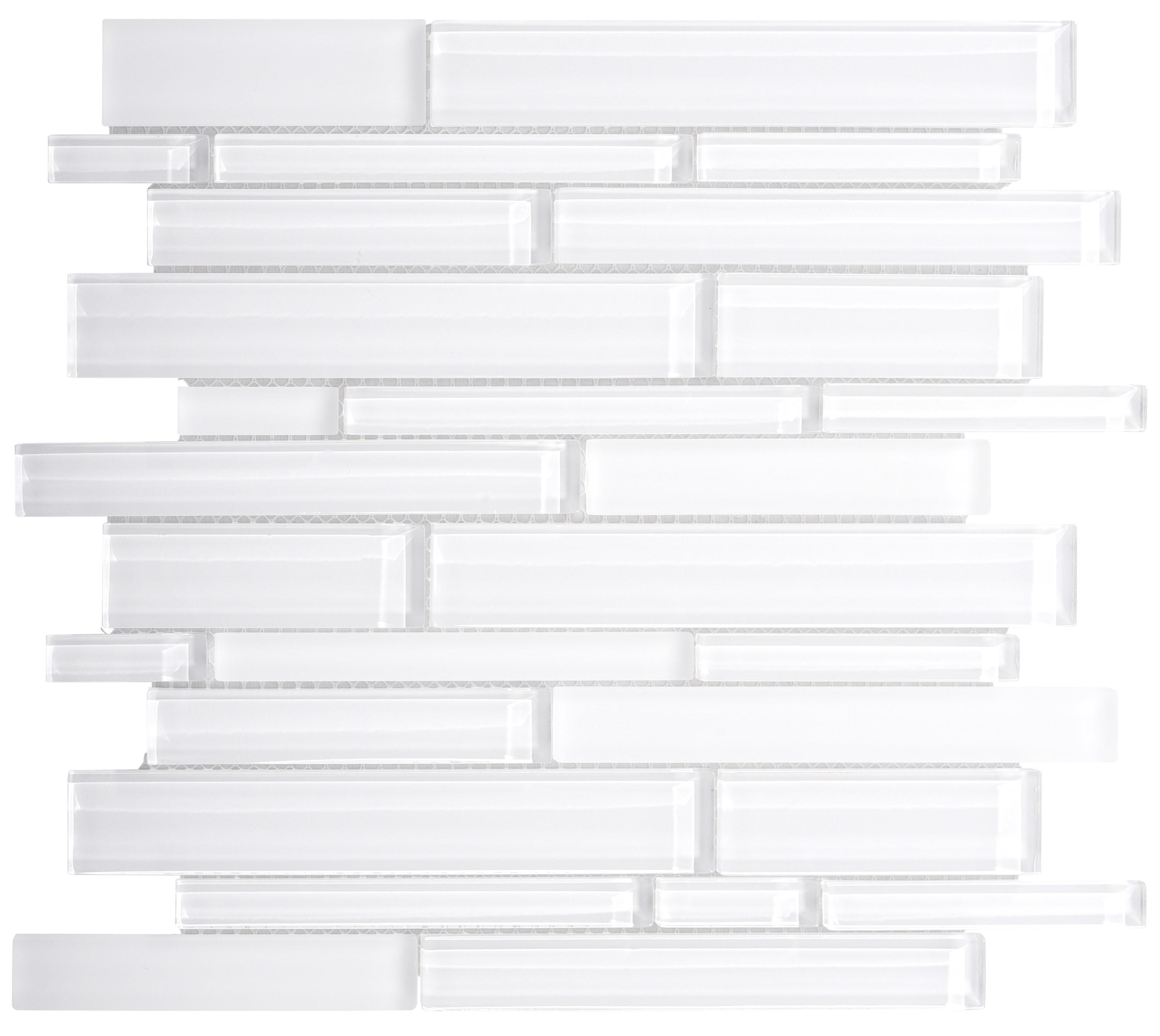 Glass Mosaic / 14 x 12 x 0.31 inches / Glossy Interlocking Random Sized Glass Mosaic Tile In White 0
