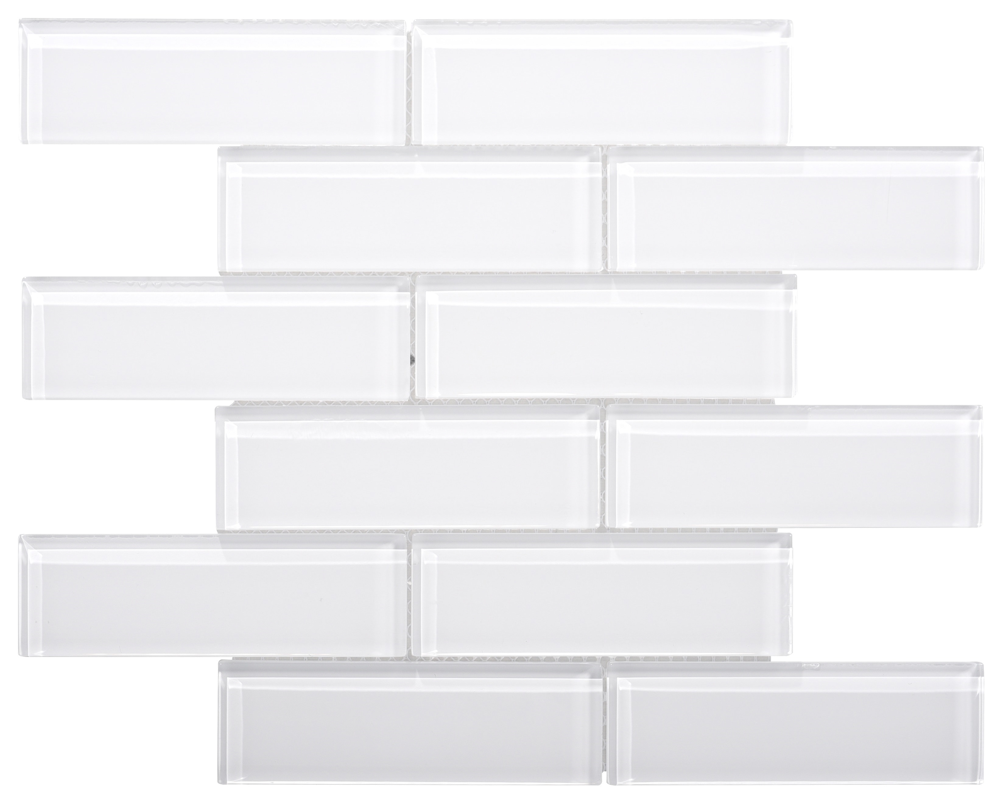Glass Mosaic / 16 x 12 x 0.31 inches / Glossy Small Glass Subway Tile In White 0