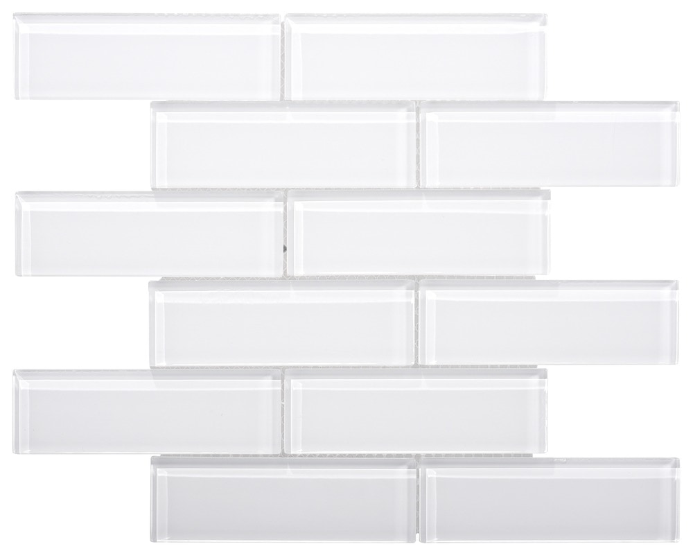 Ws Tiles Small Glass Subway Tile In White Glass Mosaic 16 X 12 X