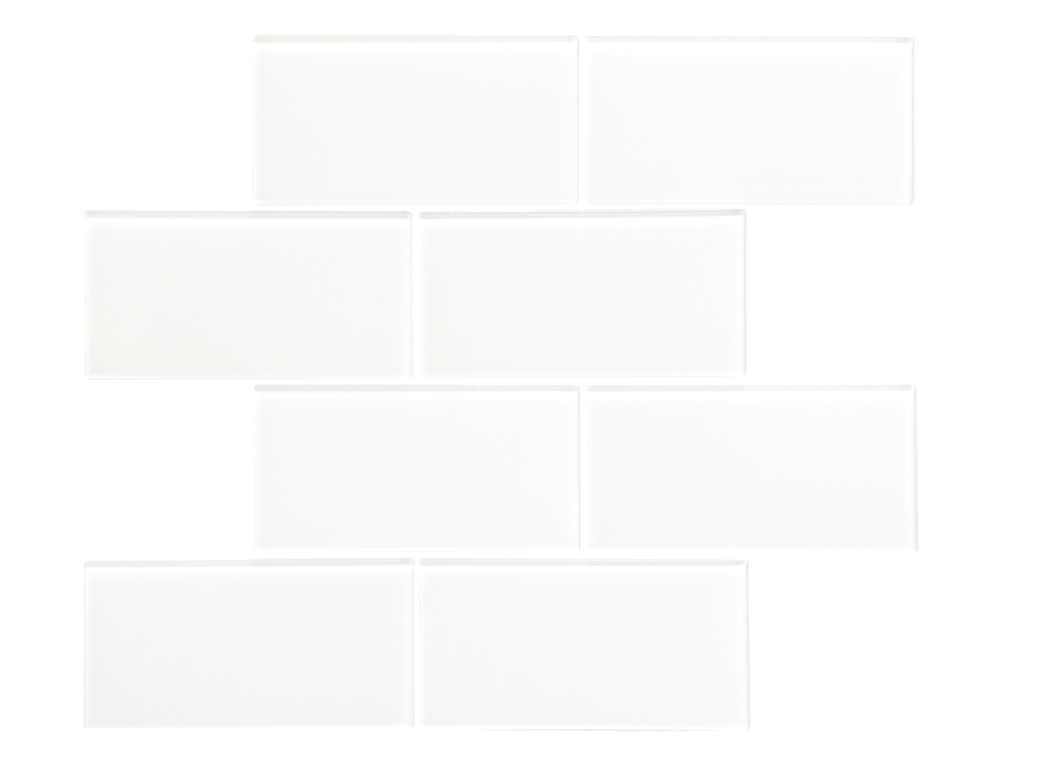 """Glass Mosaic / 16 x 12 x 0.16 inches / Glossy Large 3"""" X 6"""" X 4mm Glass Subway Mosaic Tile In White 0"""