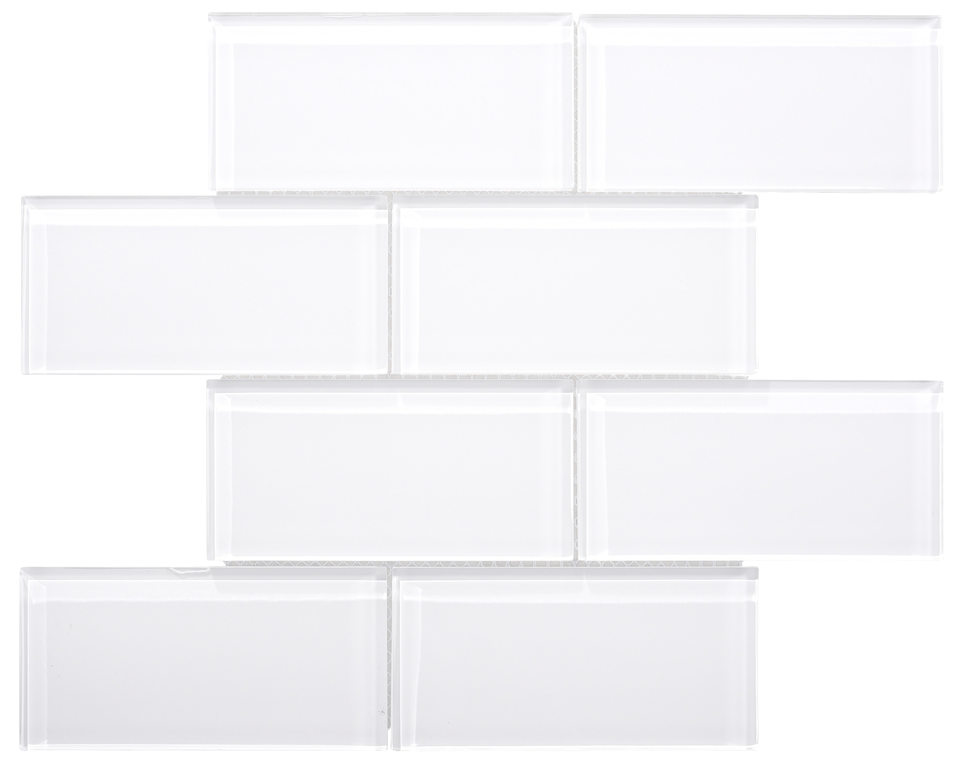Glass Mosaic / 16 x 12 x 0.31 inches / Glossy Large Glass Subway Tile In White 0