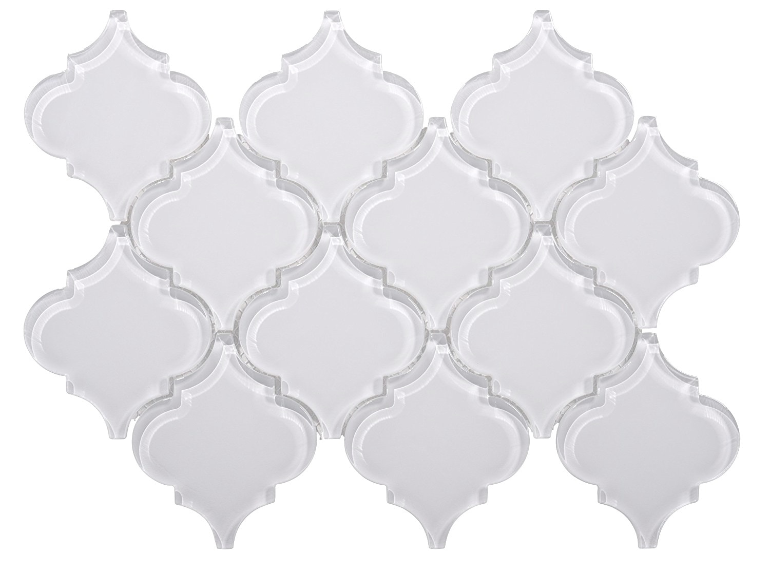 Glass Mosaic / 12 x 12 x 0.31 inches / Glossy Lantern Glass Mosaic Tile In White 0