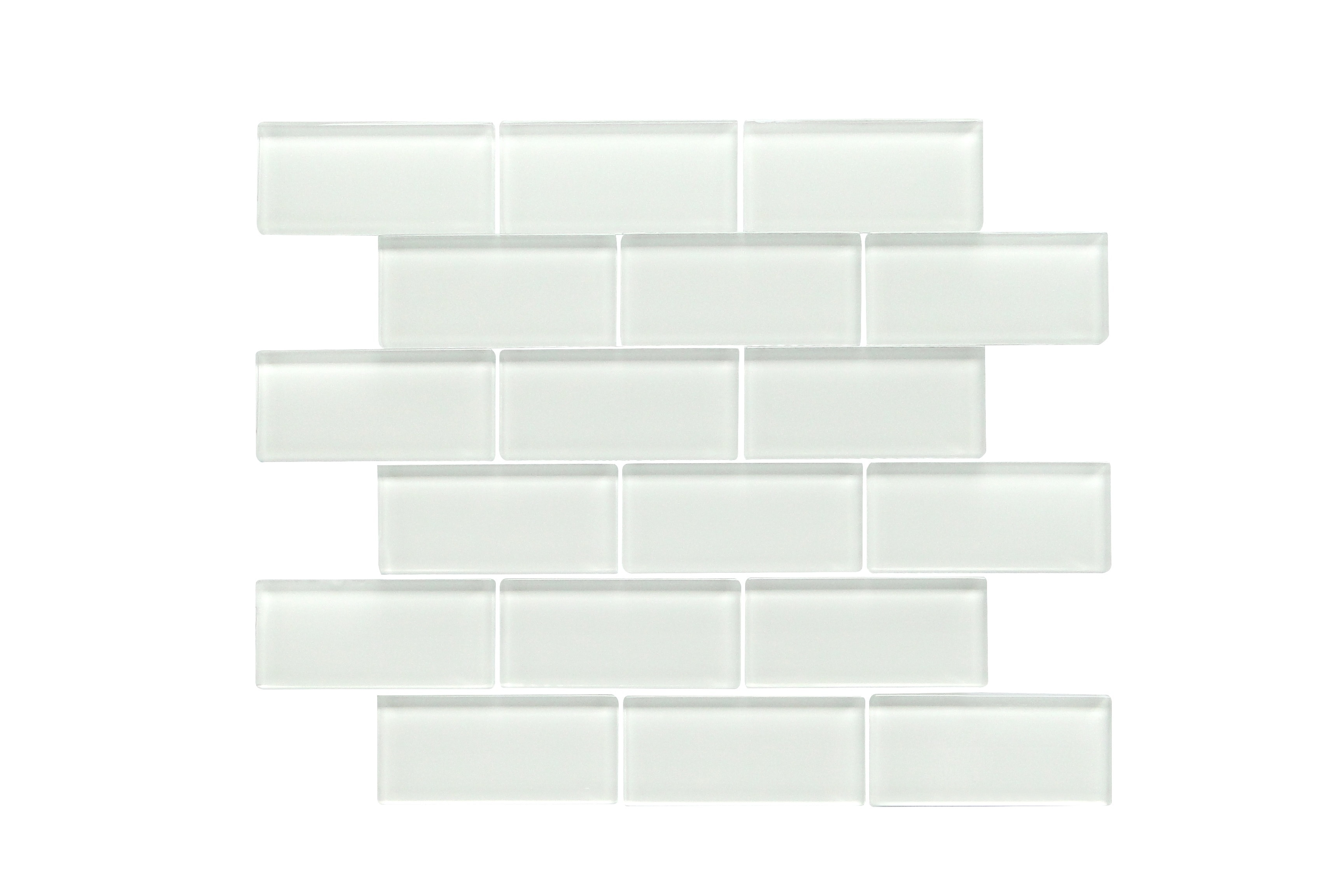 """Glass Mosaic / 14 x 12 x 0.31 inches / Glossy 2"""" X 4"""" Glass Subway Mosaic Tile In White 0"""