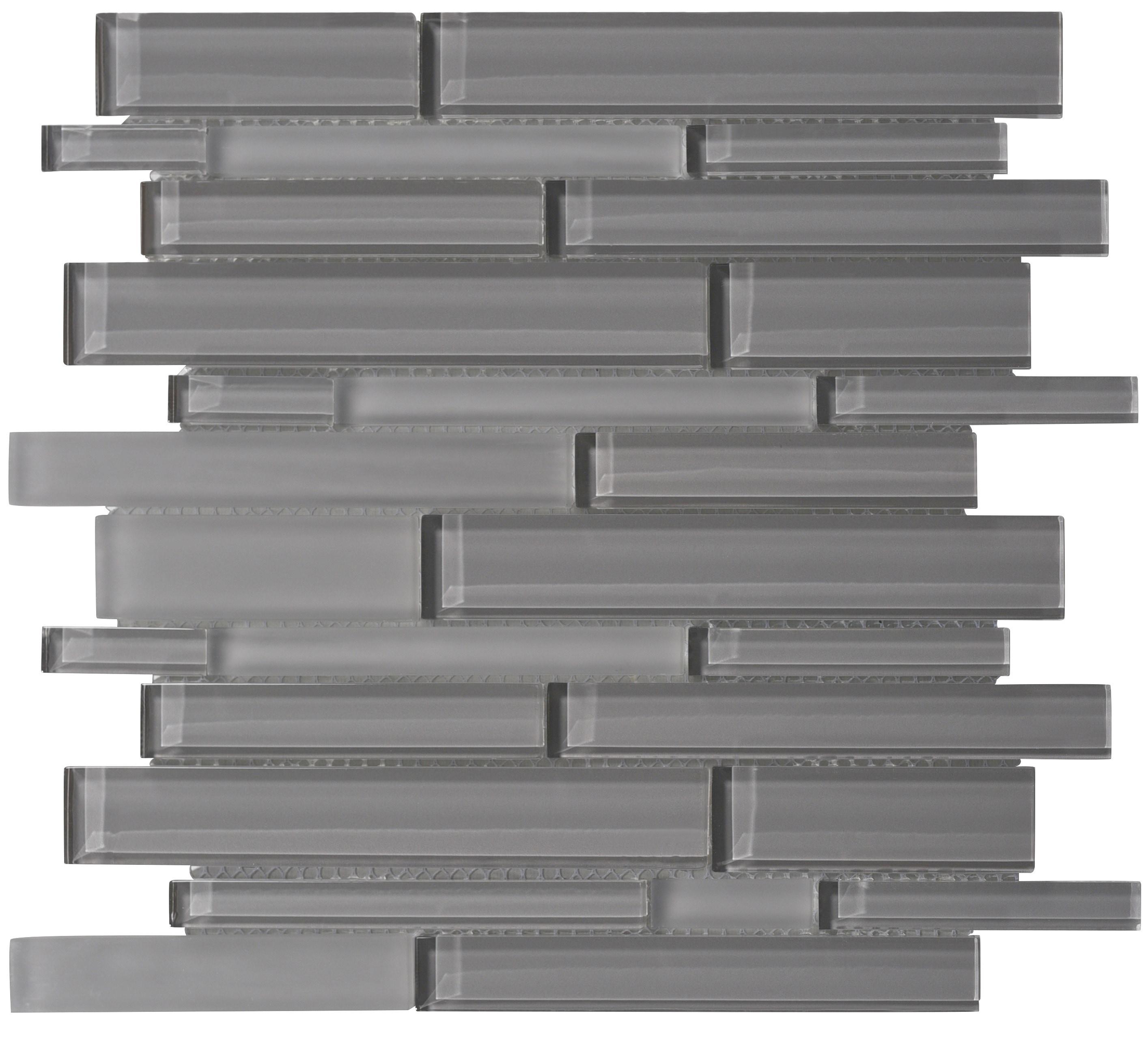 Glass Mosaic / 14 x 12 x 0.31 inches / Glossy Interlocking Random Sized Glass Mosaic Tile In Dark Gray 0