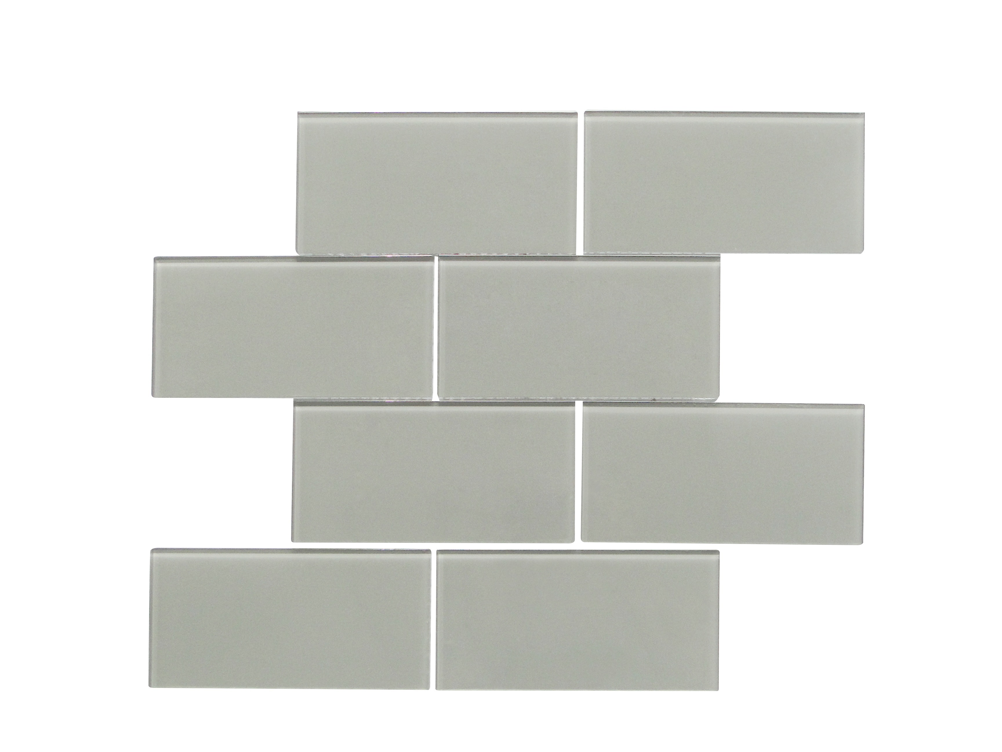 """Glass Mosaic / 16 x 12 x 0.16 inches / Glossy Large 3"""" X 6"""" X 4mm Glass Subway Mosaic Tile In Dark Gray 0"""