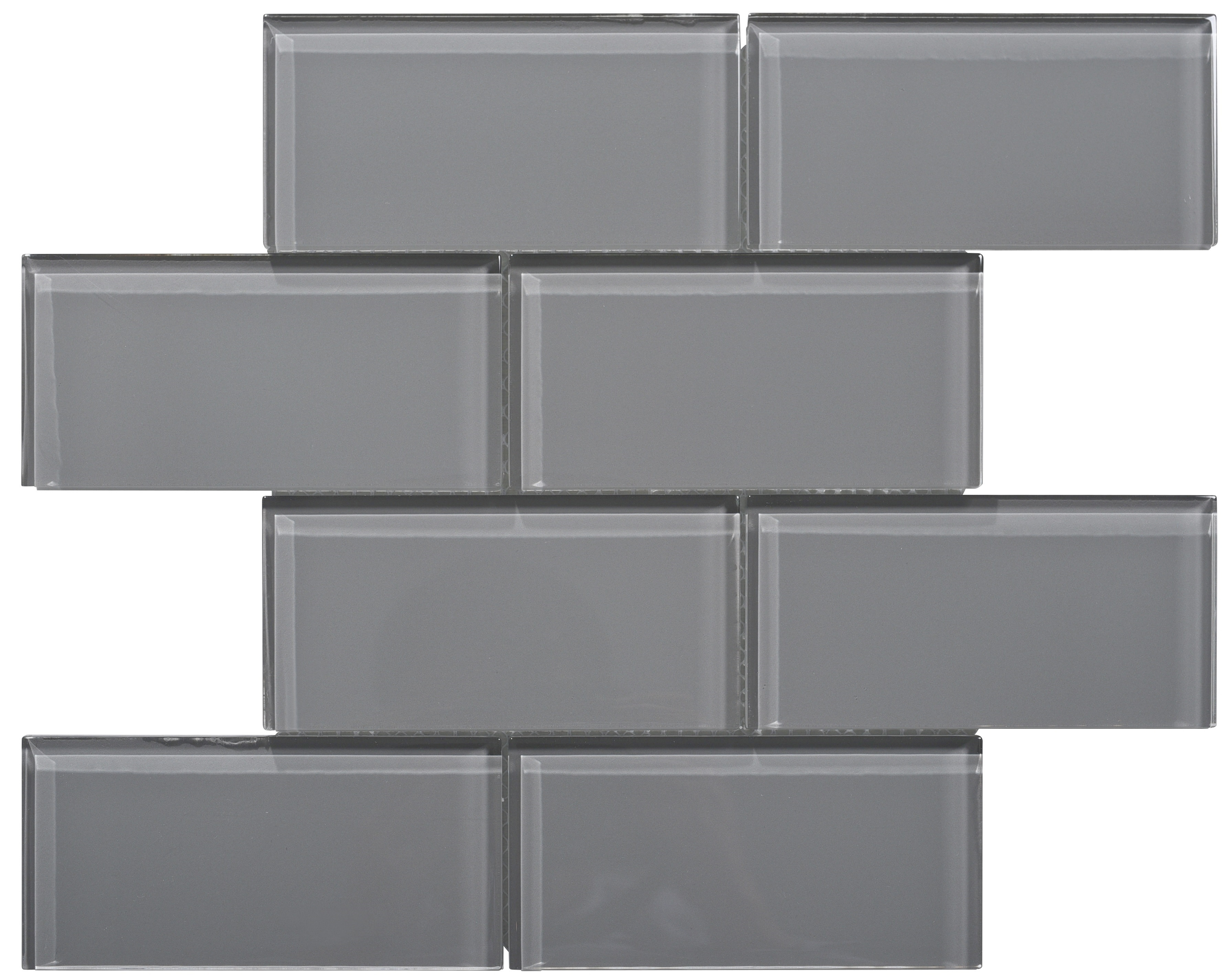 Glass Mosaic / 16 x 12 x 0.31 inches / Glossy Large Glass Subway Tile In Dark Gray 0