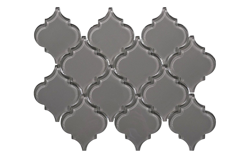 Glass Mosaic / 12 x 12 x 0.31 inches / Glossy Lantern Glass Mosaic Tile In Dark Gray 0