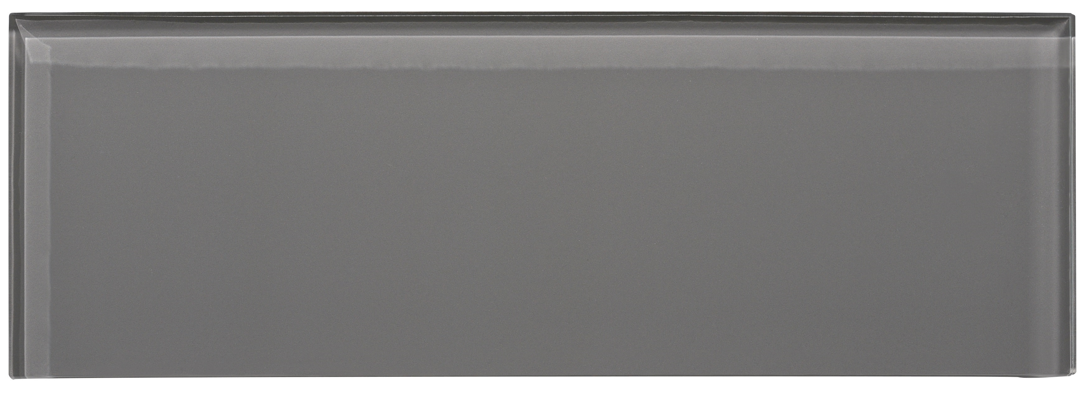 """Glass Subway Tile / 4 x 12 x 0.31 inches / Glossy Individual 4"""" X 12"""" Glass Subway Tile In Dark Gray 0"""