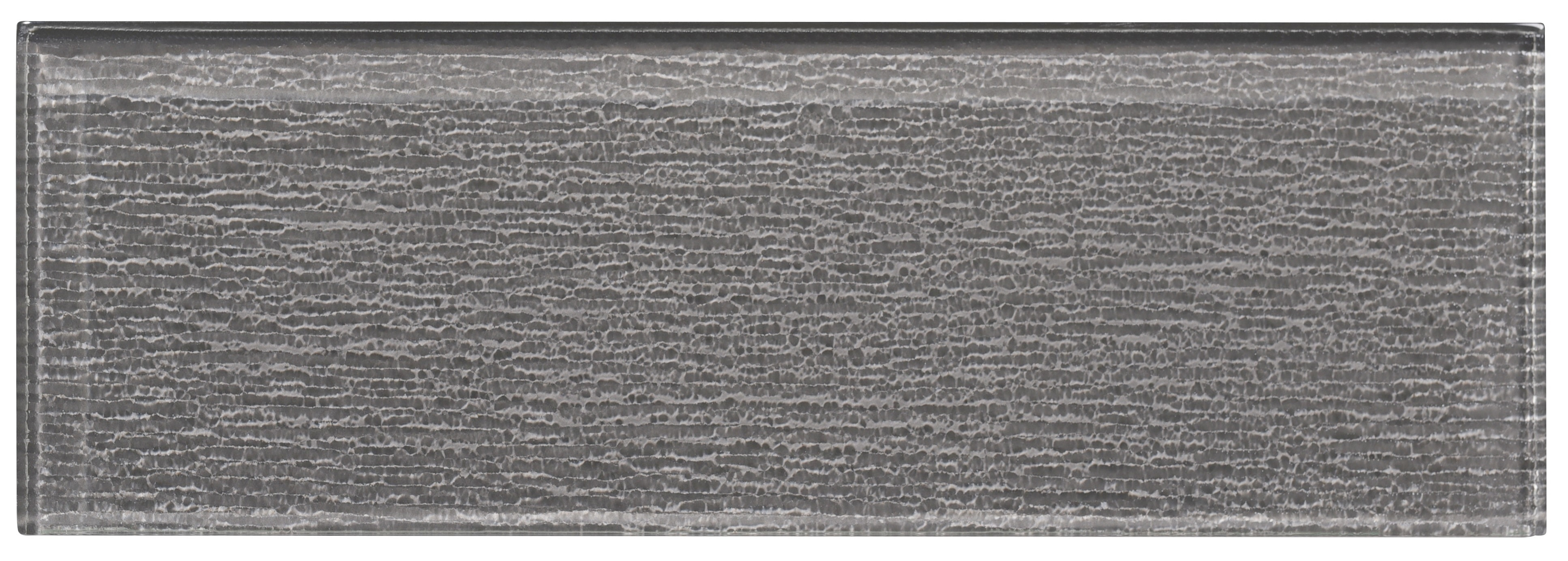 """Glass Subway Tile / 4 x 12 x 0.31 inches / Glossy Textured Individual 4"""" X 12"""" Glass Subway Tile In Dark Gray 0"""