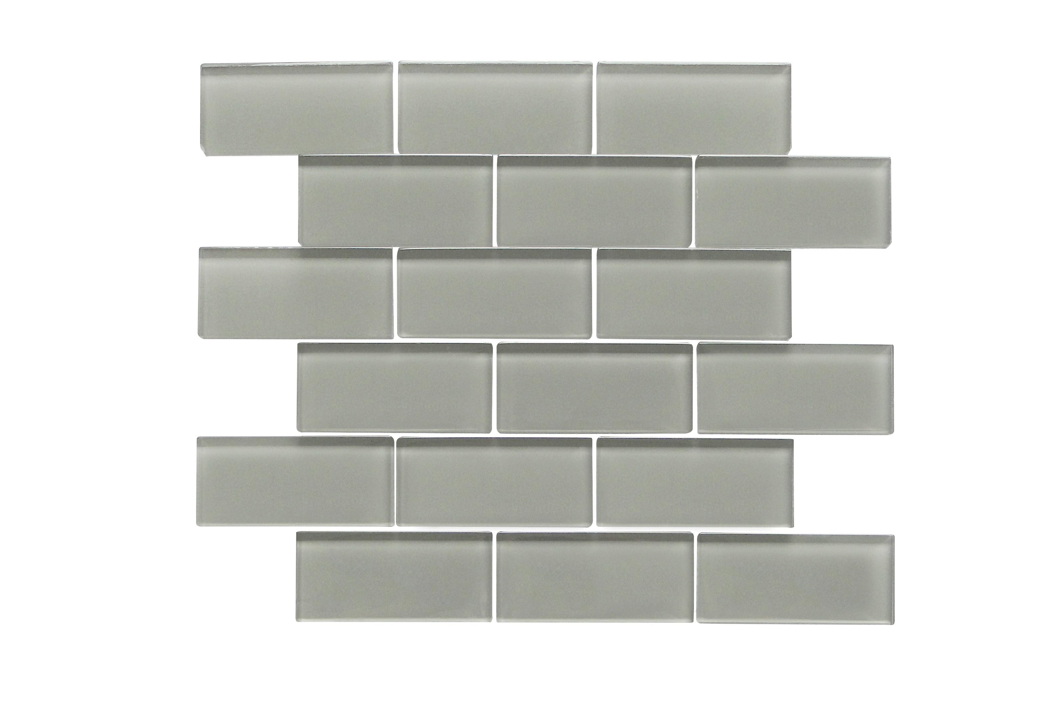 "Glass Mosaic / 14 x 12 x 0.31 inches / Glossy 2"" X 4"" Glass Subway Mosaic Tile In Dark Gray 0"