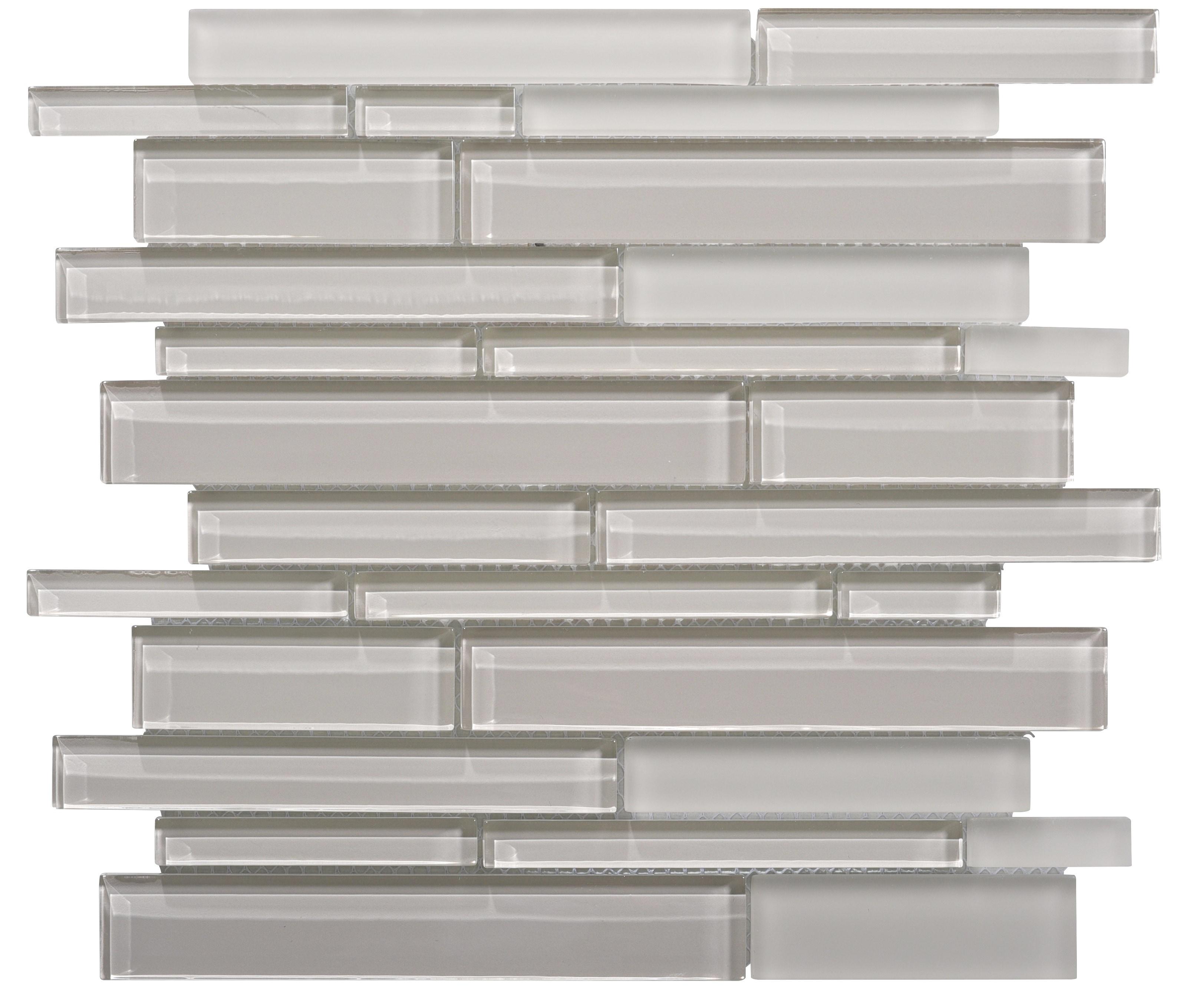 Glass Mosaic / 14 x 12 x 0.31 inches / Glossy Interlocking Random Sized Glass Mosaic Tile In Icy Gray 0