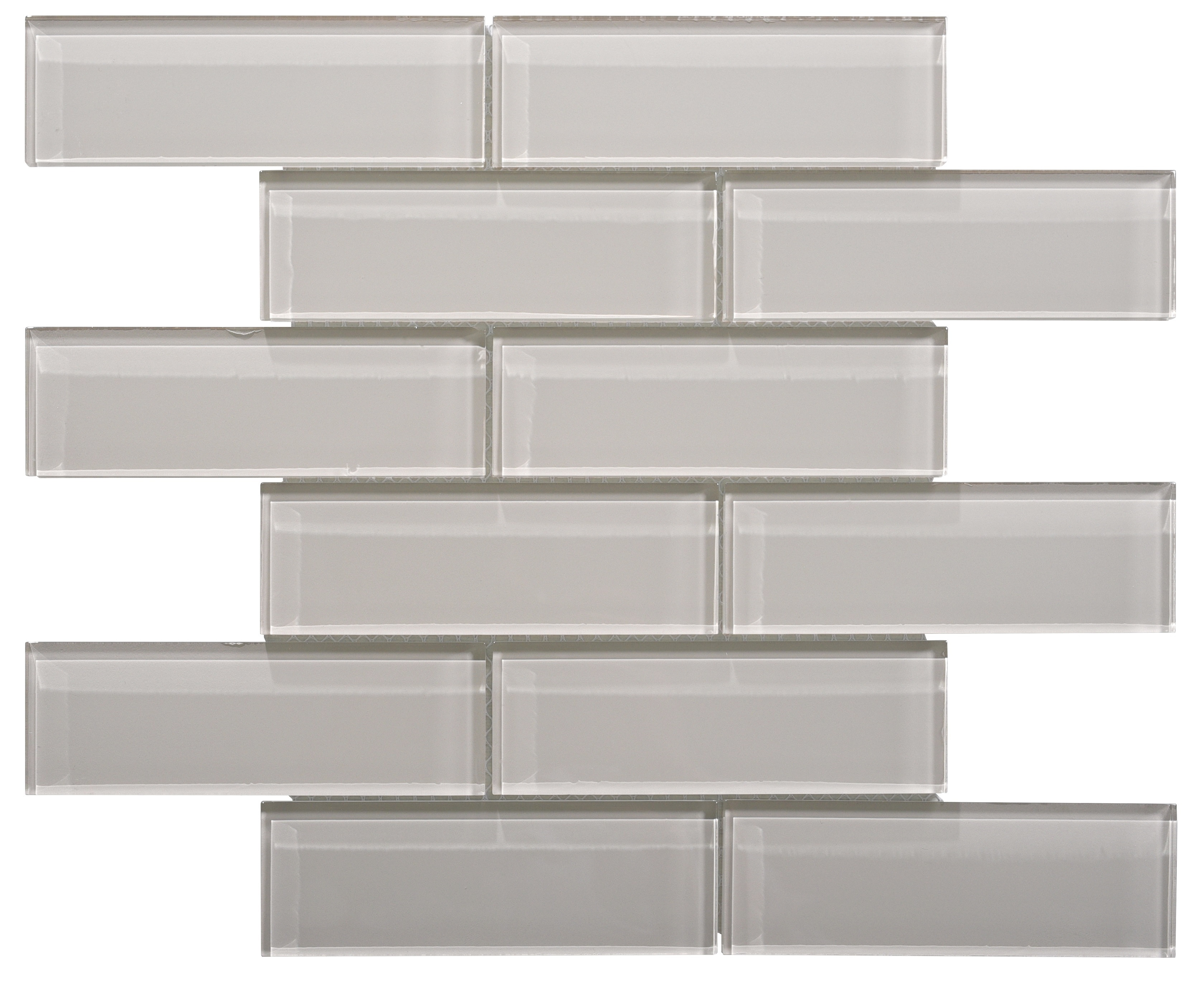 Glass Mosaic / 16 x 12 x 0.31 inches / Glossy Small Glass Subway Tile In Icy Gray 0