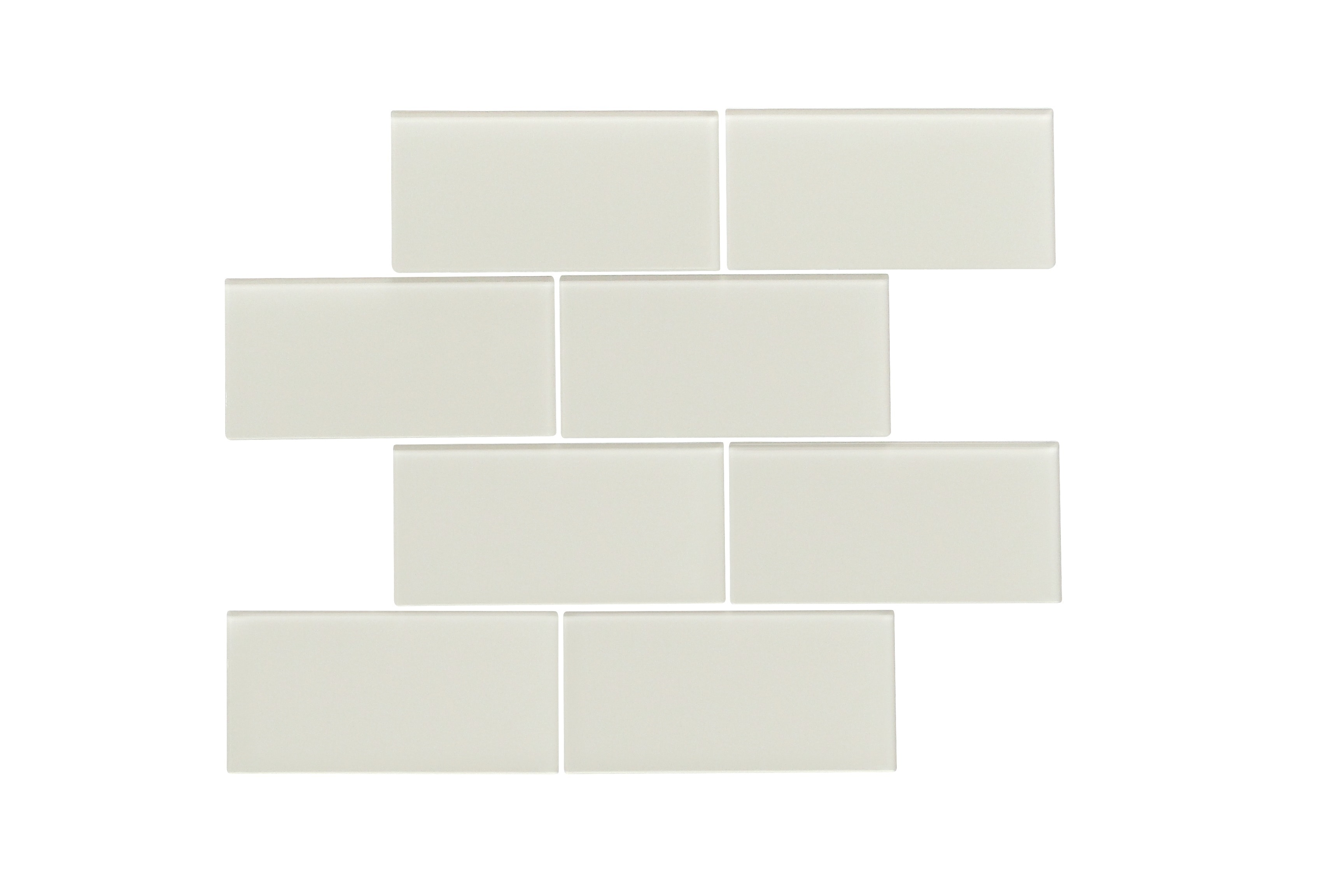 """Glass Mosaic / 16 x 12 x 0.16 inches / Glossy Large 3"""" X 6"""" X 4mm Glass Subway Mosaic Tile In Icy Gray 0"""