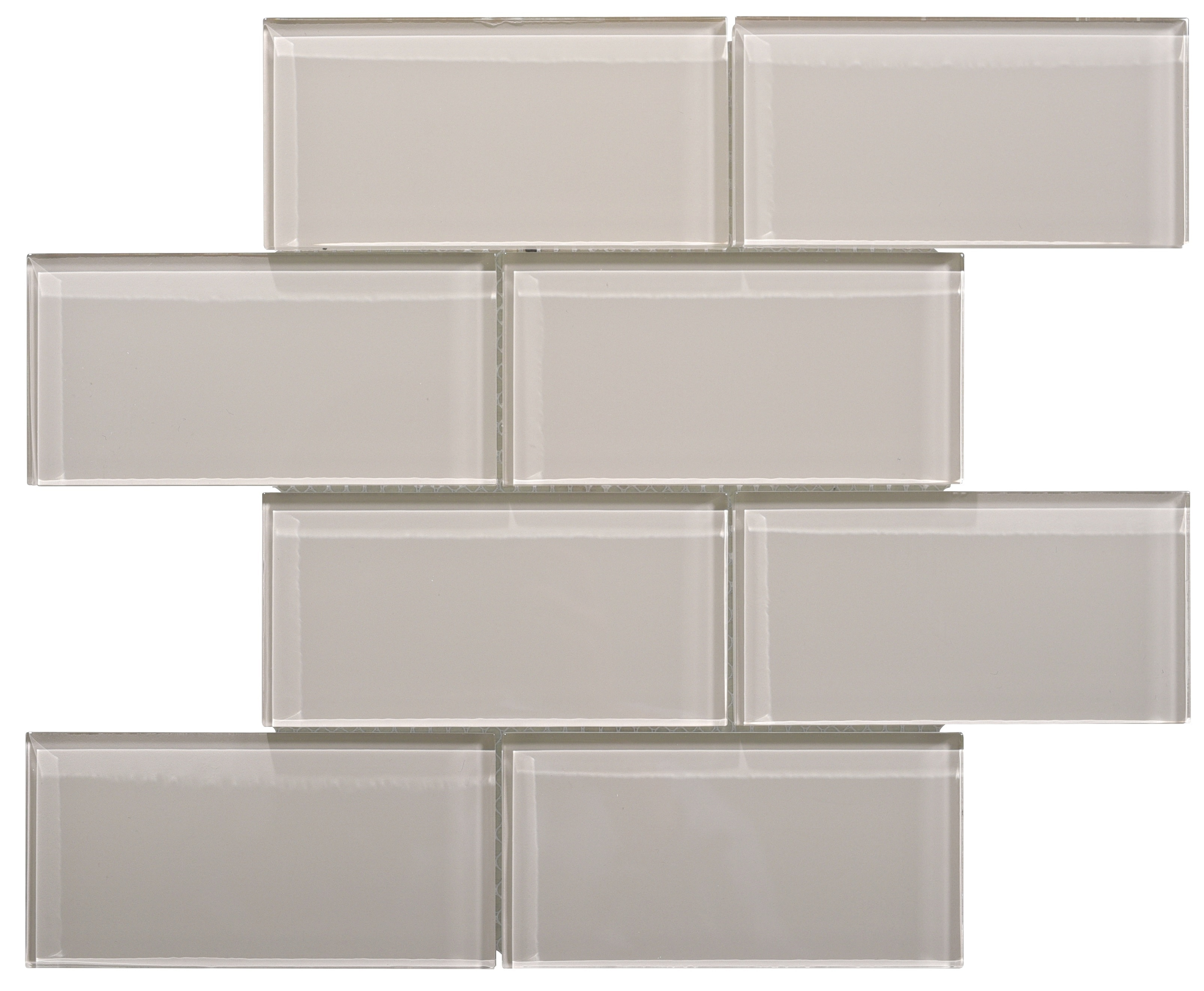 Glass Mosaic / 16 x 12 x 0.31 inches / Glossy Large Glass Subway Tile In Icy Gray 0