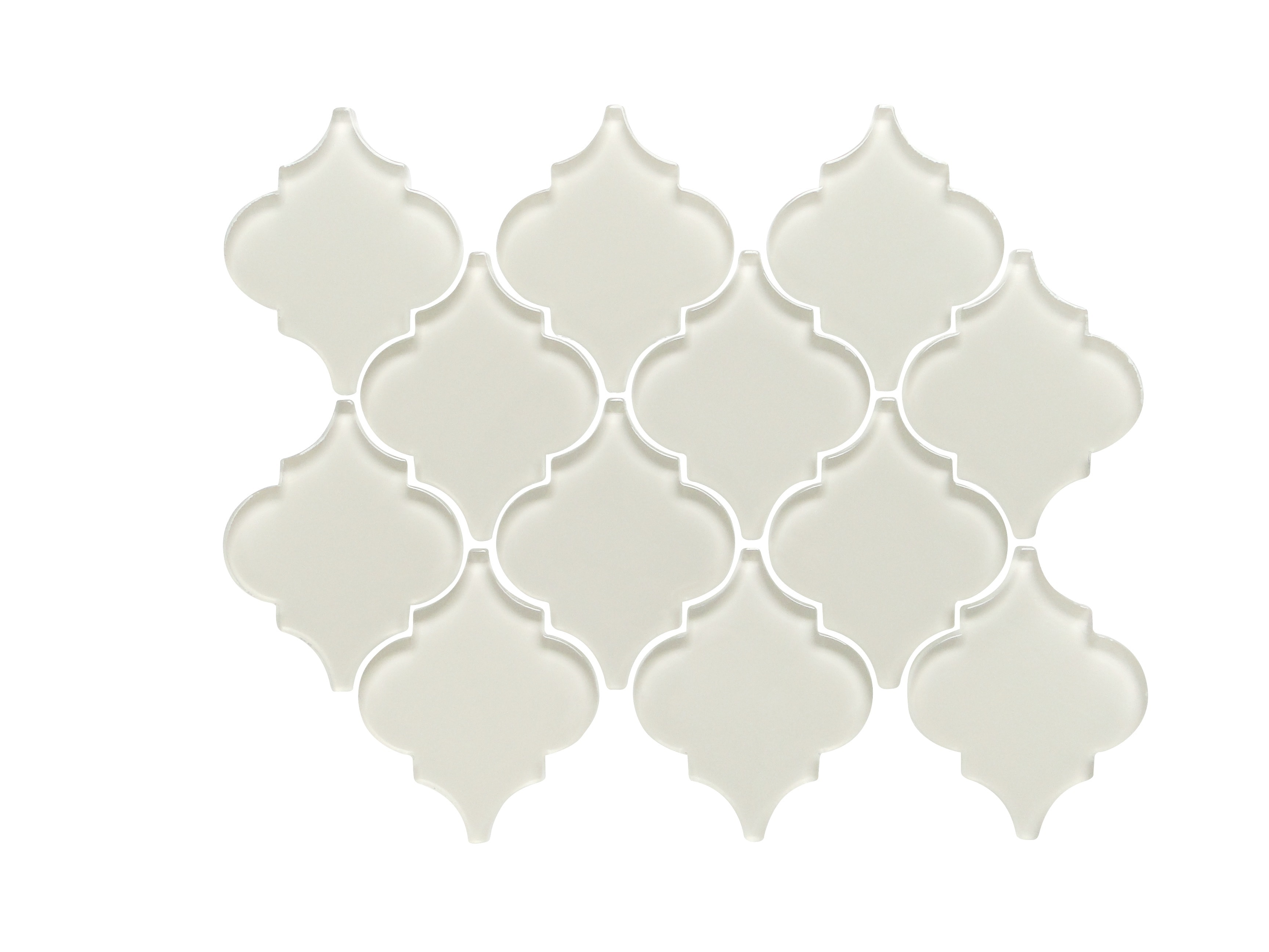 Glass Mosaic / 12 x 12 x 0.31 inches / Glossy Lantern Arabesque Glass Mosaic Tile In Icy Gray 0