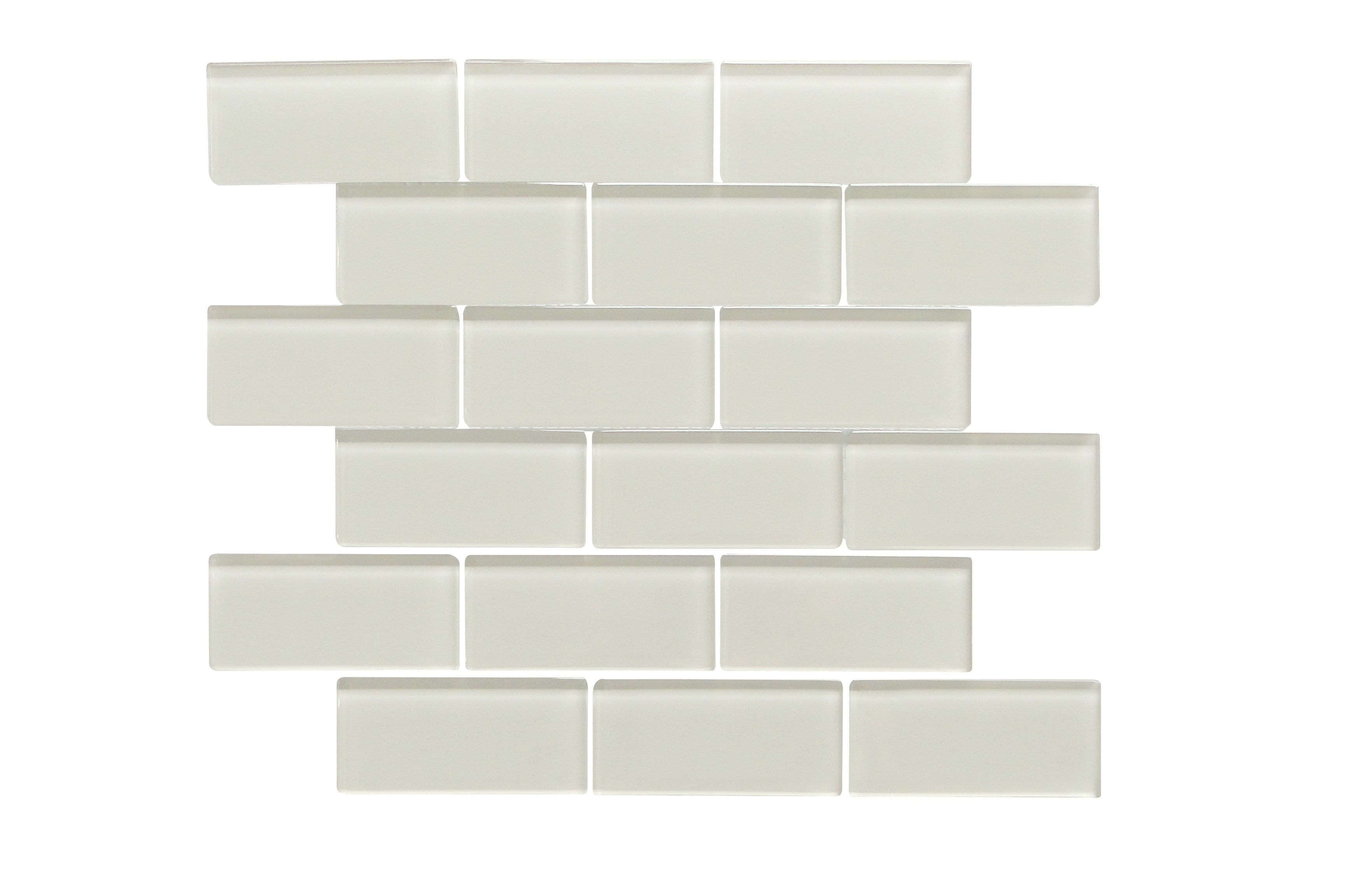 """Glass Mosaic / 14 x 12 x 0.31 inches / Glossy 2"""" X 4"""" Glass Subway Mosaic Tile In Icy Gray 0"""