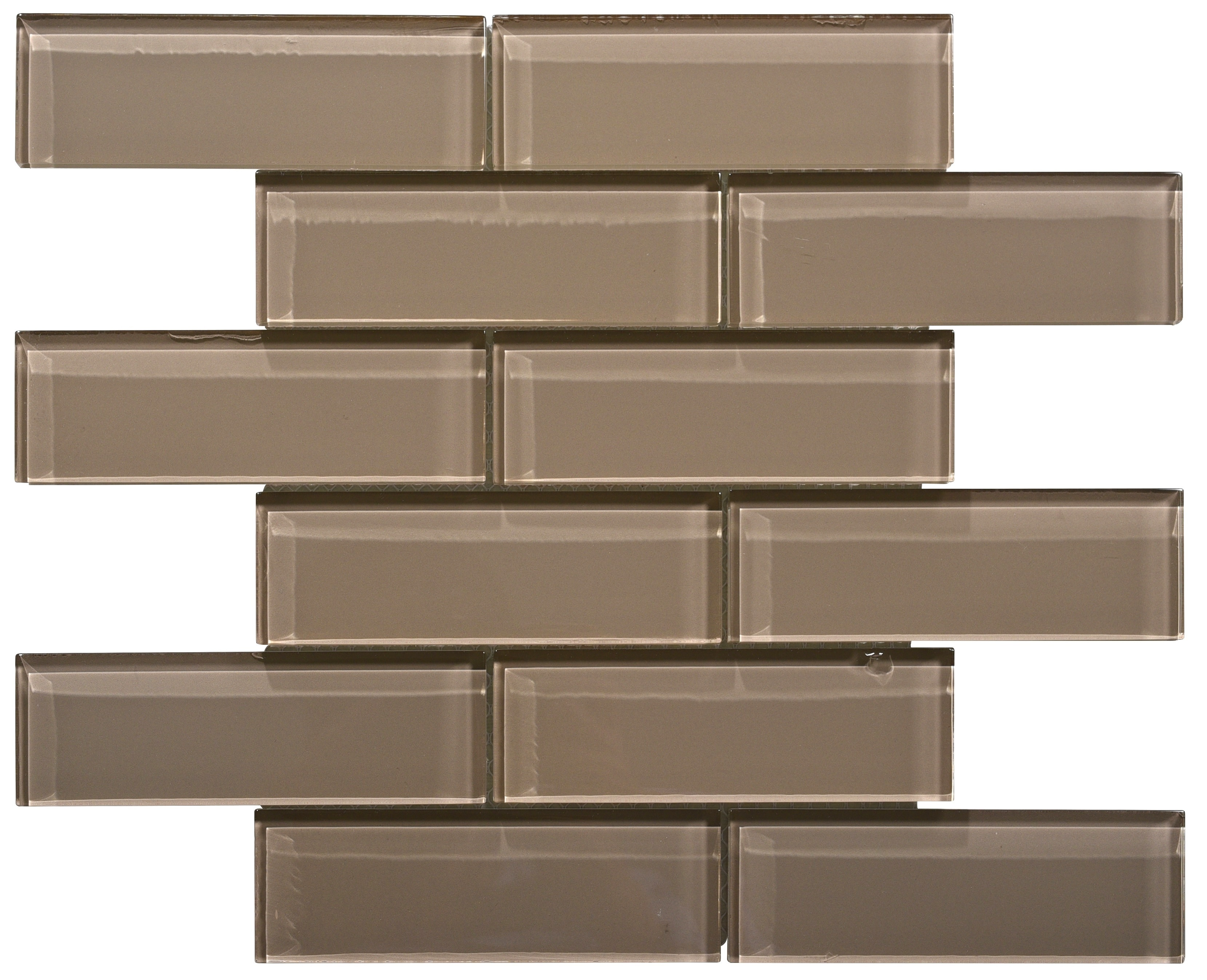 Glass Mosaic / 16 x 12 x 0.31 inches / Glossy Small Glass Subway Tile In Beige 0