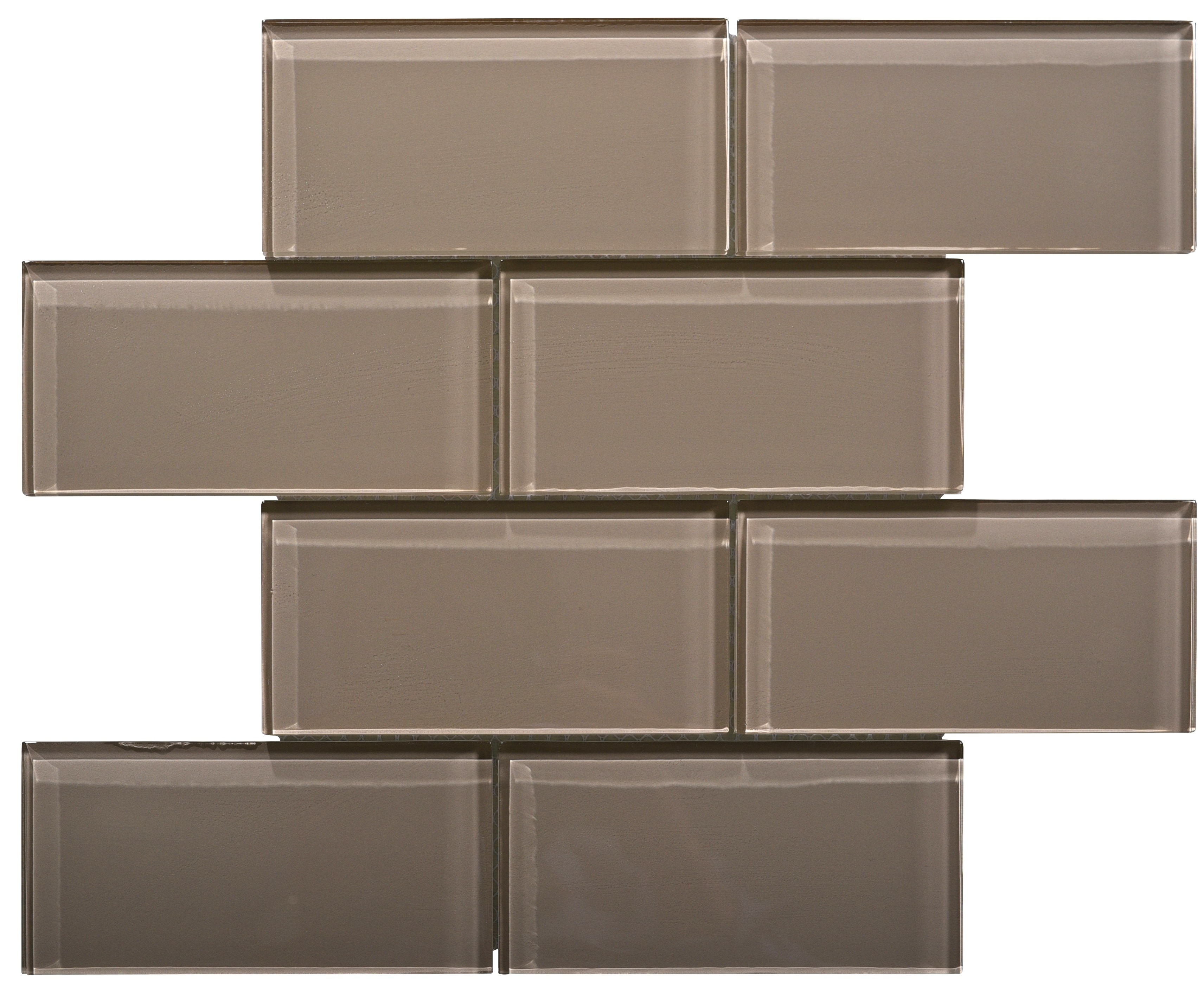 Glass Mosaic / 16 x 12 x 0.31 inches / Glossy Large Glass Subway Tile In Beige 0