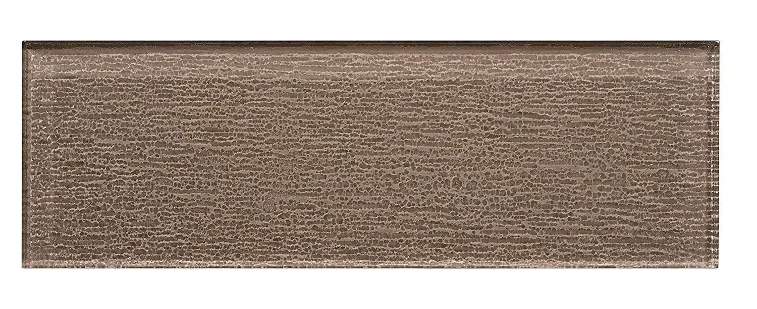 """Glass Subway Tile / 4 x 12 x 0.31 inches / Glossy Textured Individual 4"""" X 12"""" Glass Subway Tile In Beige 0"""