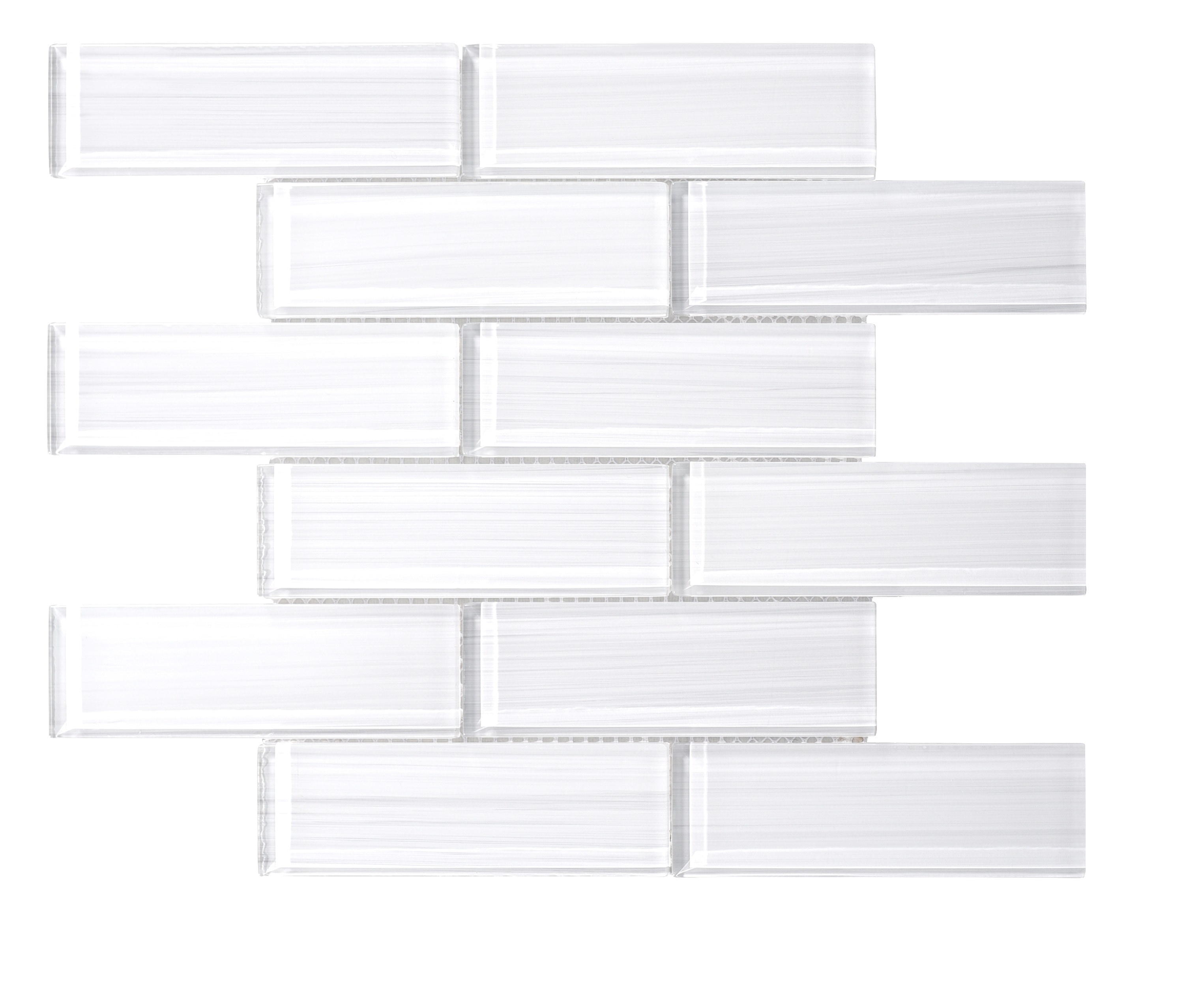 Glass Mosaic / 16 x 12 x 0.31 inches / Glossy Hand Painted Small Glass Subway Tile In White 0