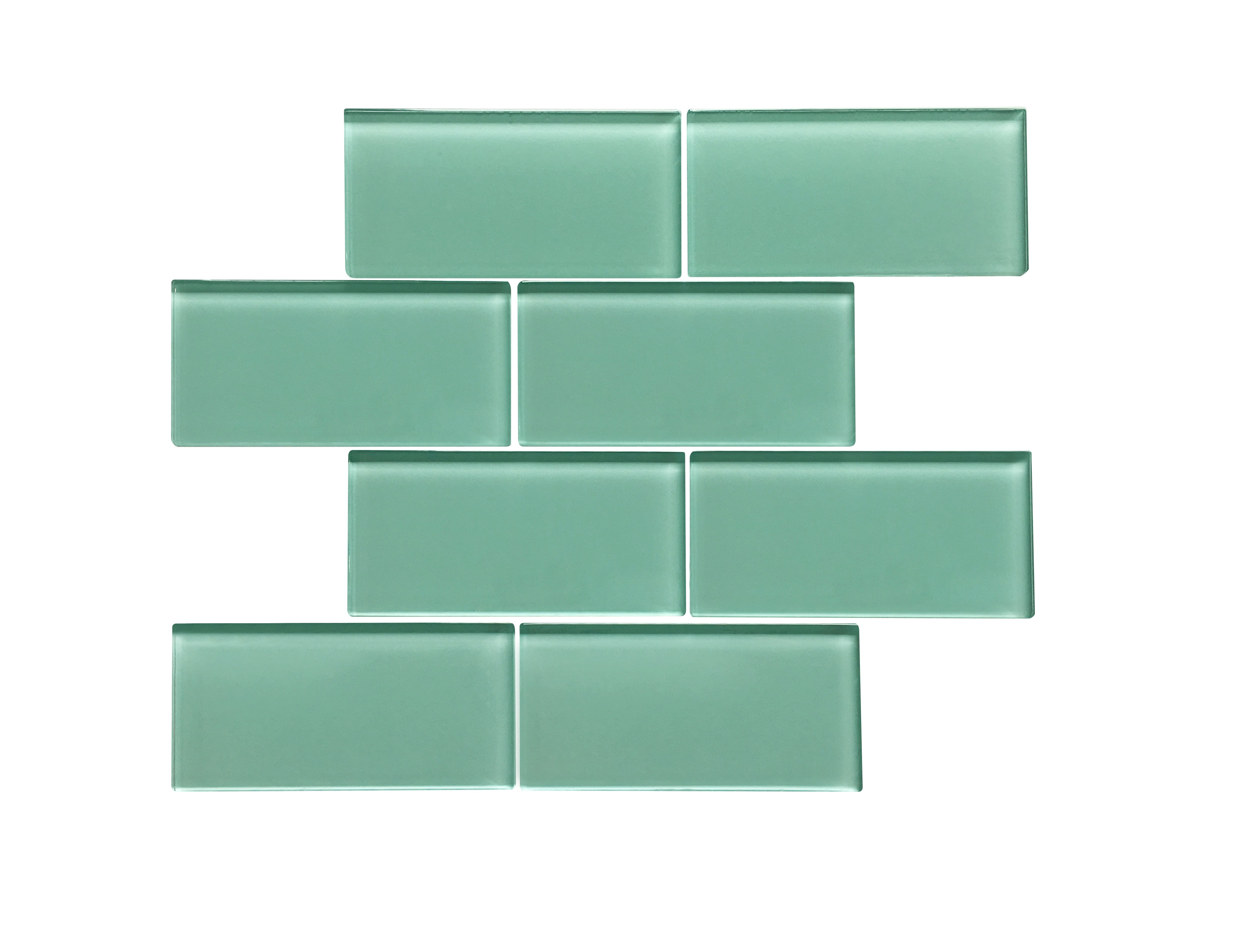 """Glass Mosaic / 16 x 12 x 0.31 inches / Glossy Large 3"""" X 6"""" Glass Subway Mosaic Tile In Light Teal 0"""