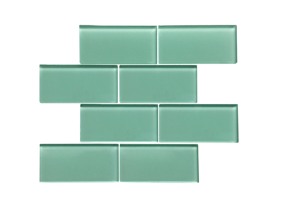 Ws Tiles Large 3 X 6 Glass Subway Mosaic Tile In Light Teal Glass